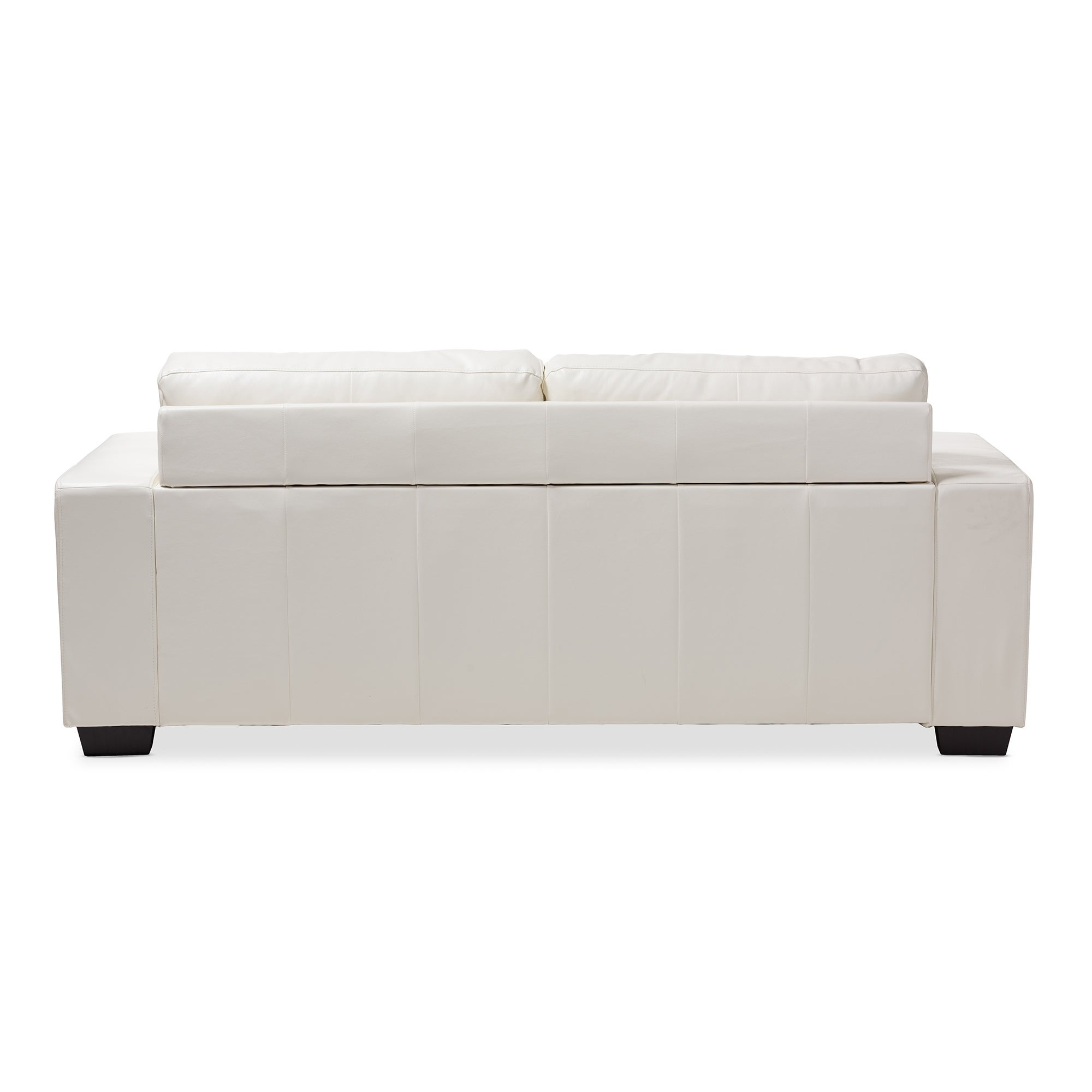Shop Contemporary White Faux Leather Sofa by Baxton Studio - Free ...