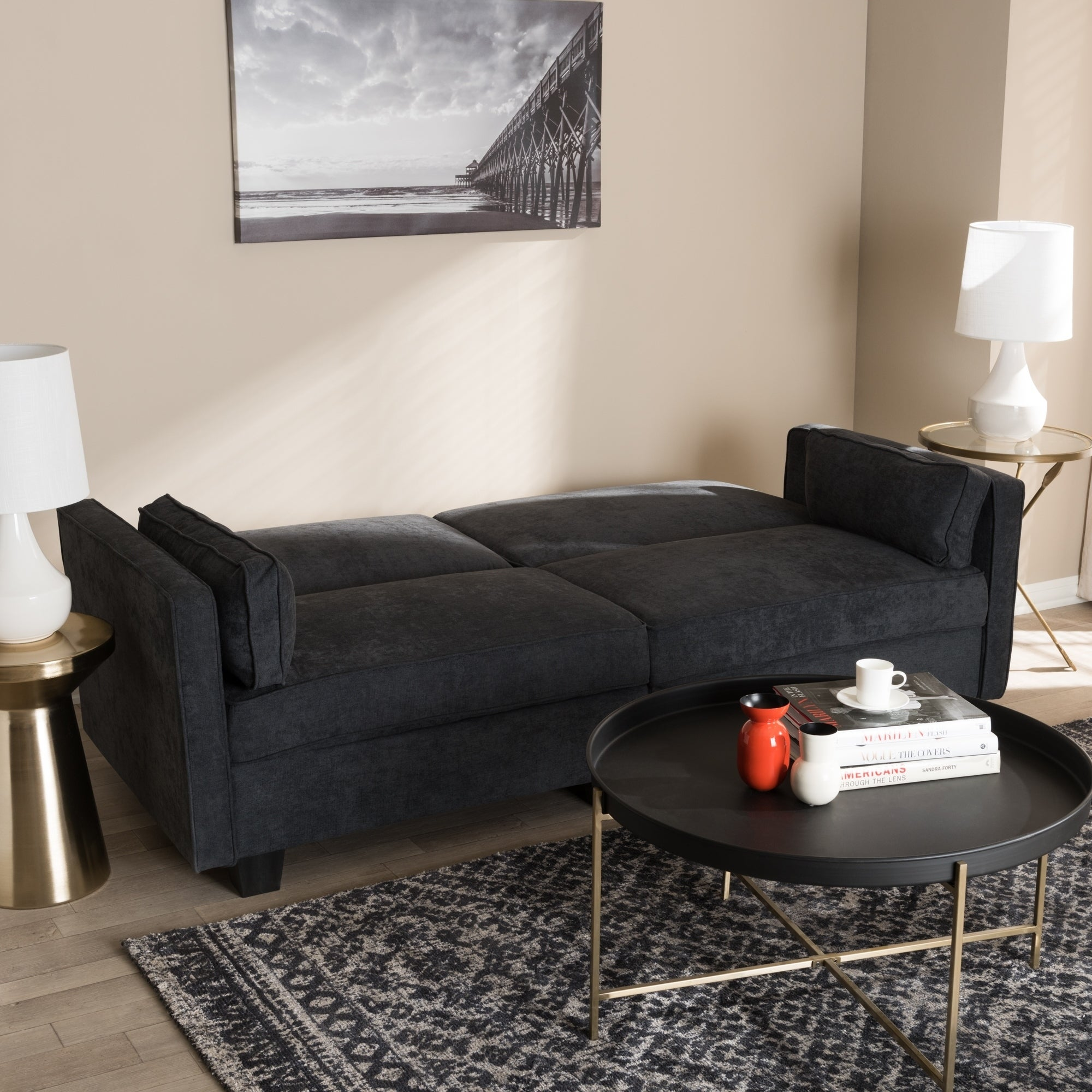 Shop Contemporary Fabric Sleeper Sofa by Baxton Studio - Free ...