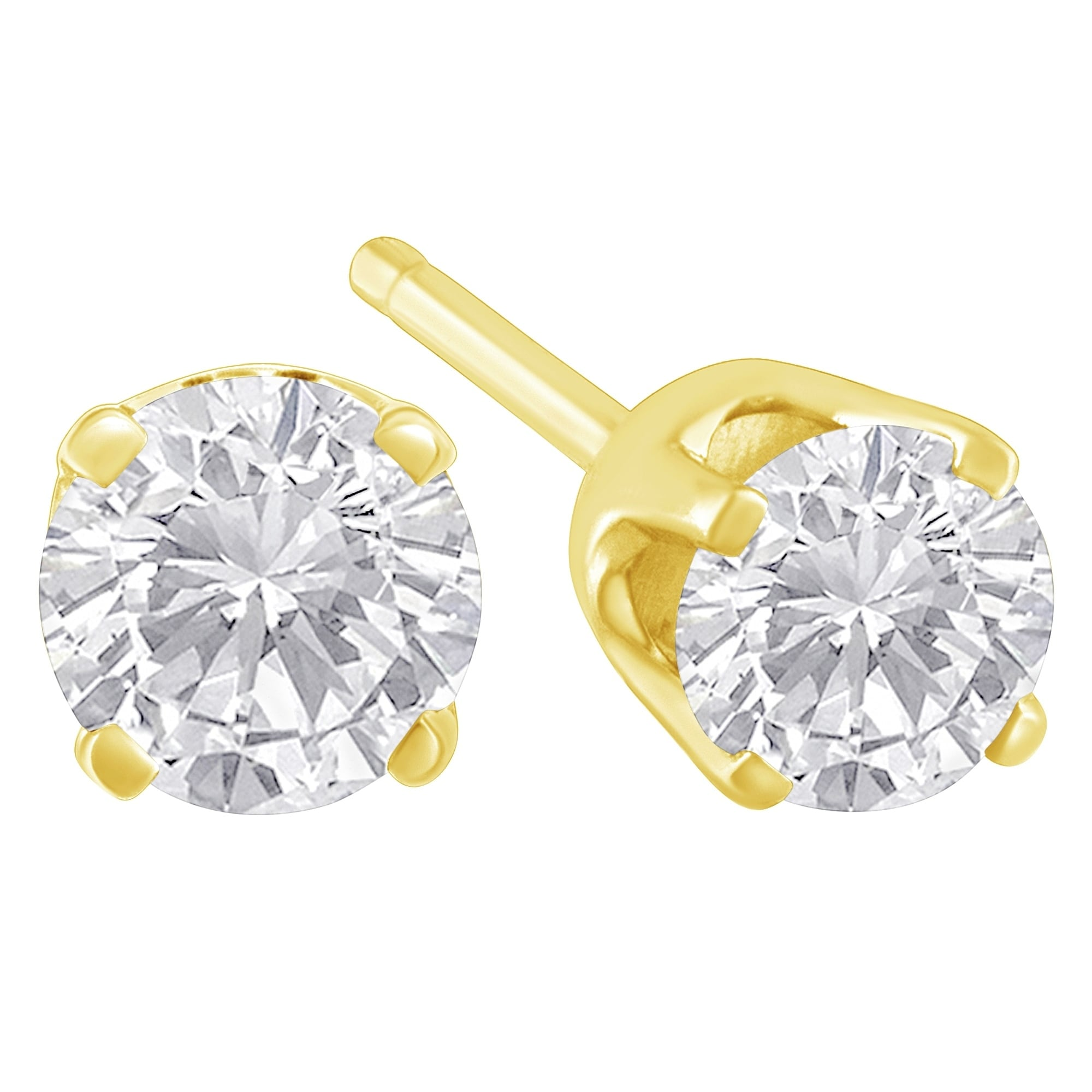 loop earrings real gold princess ladies diamond stud a cut itm dia solitaire yg