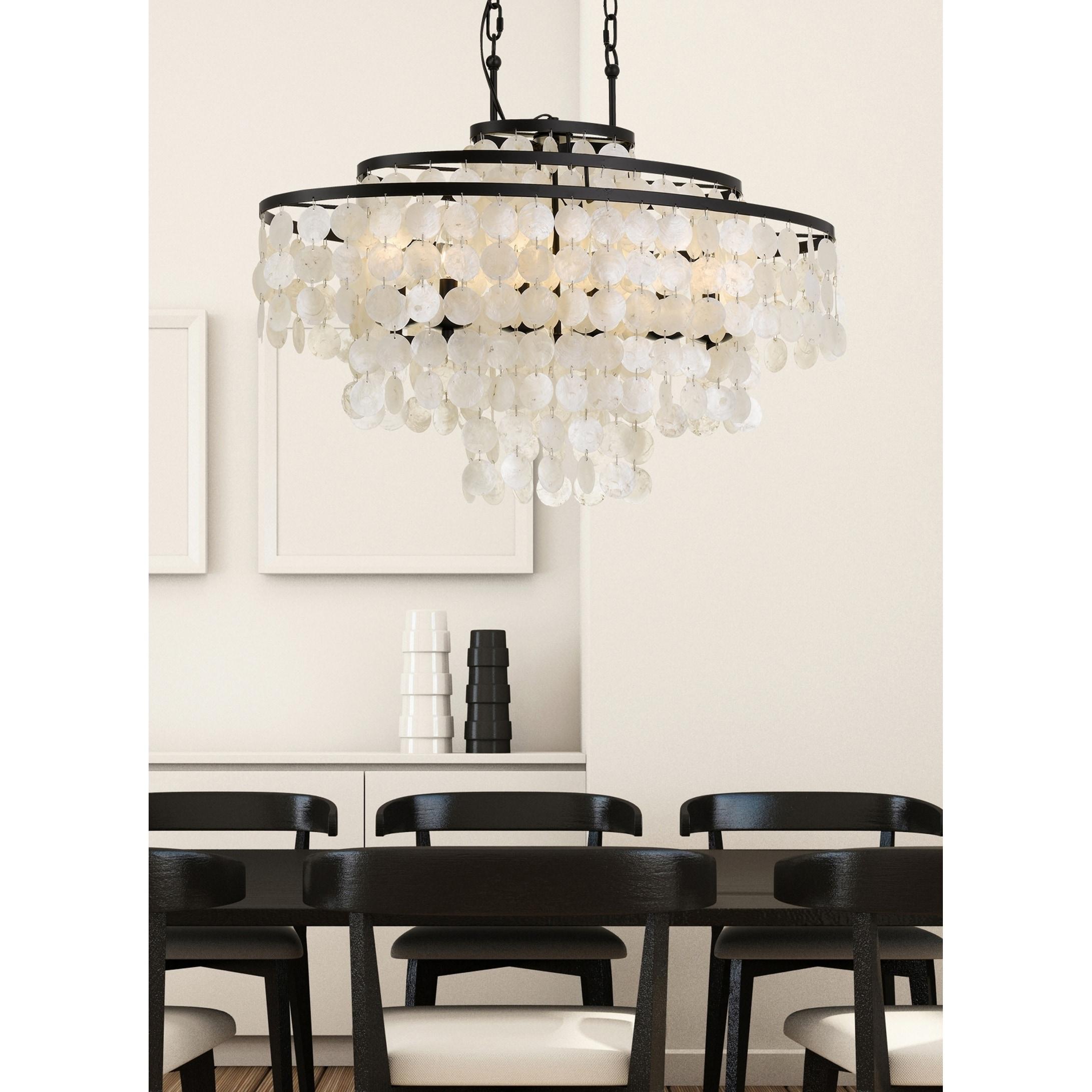 Coastal 6 light bronze capiz shell chandelier