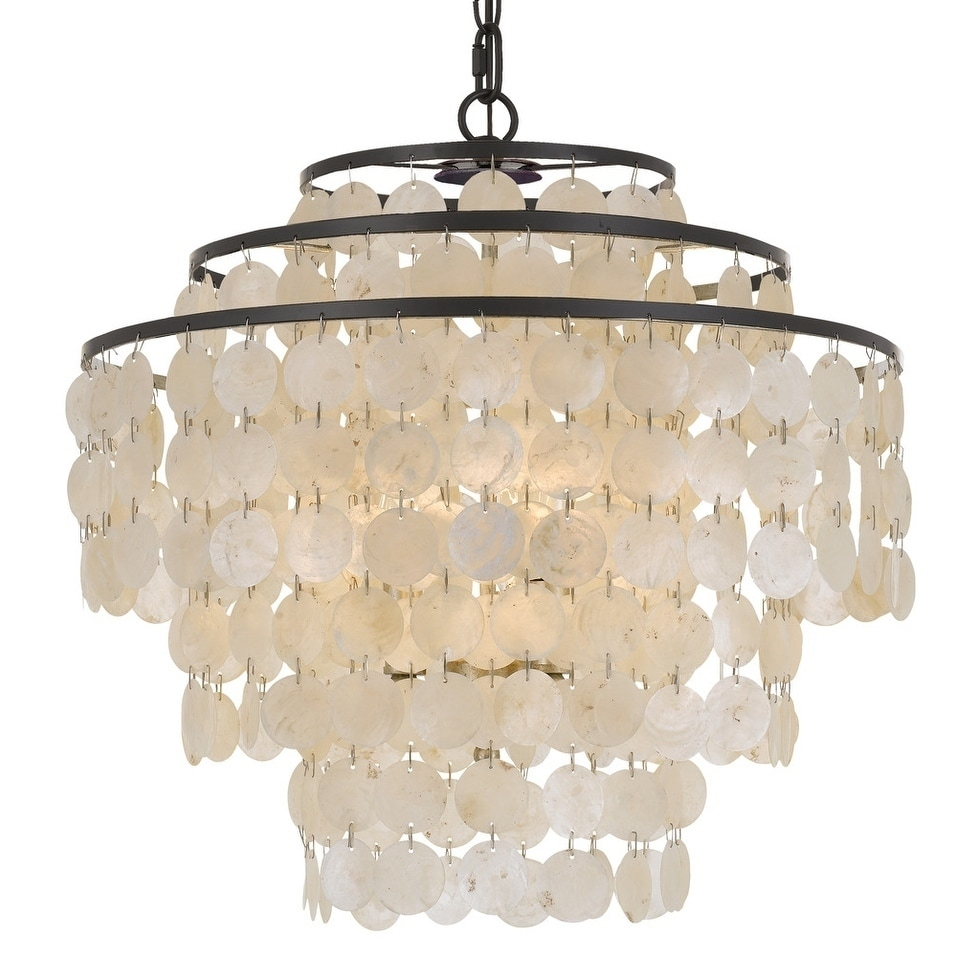Shop elight design coastal 4 light bronze capiz shell chandelier on sale free shipping today overstock com 21234807