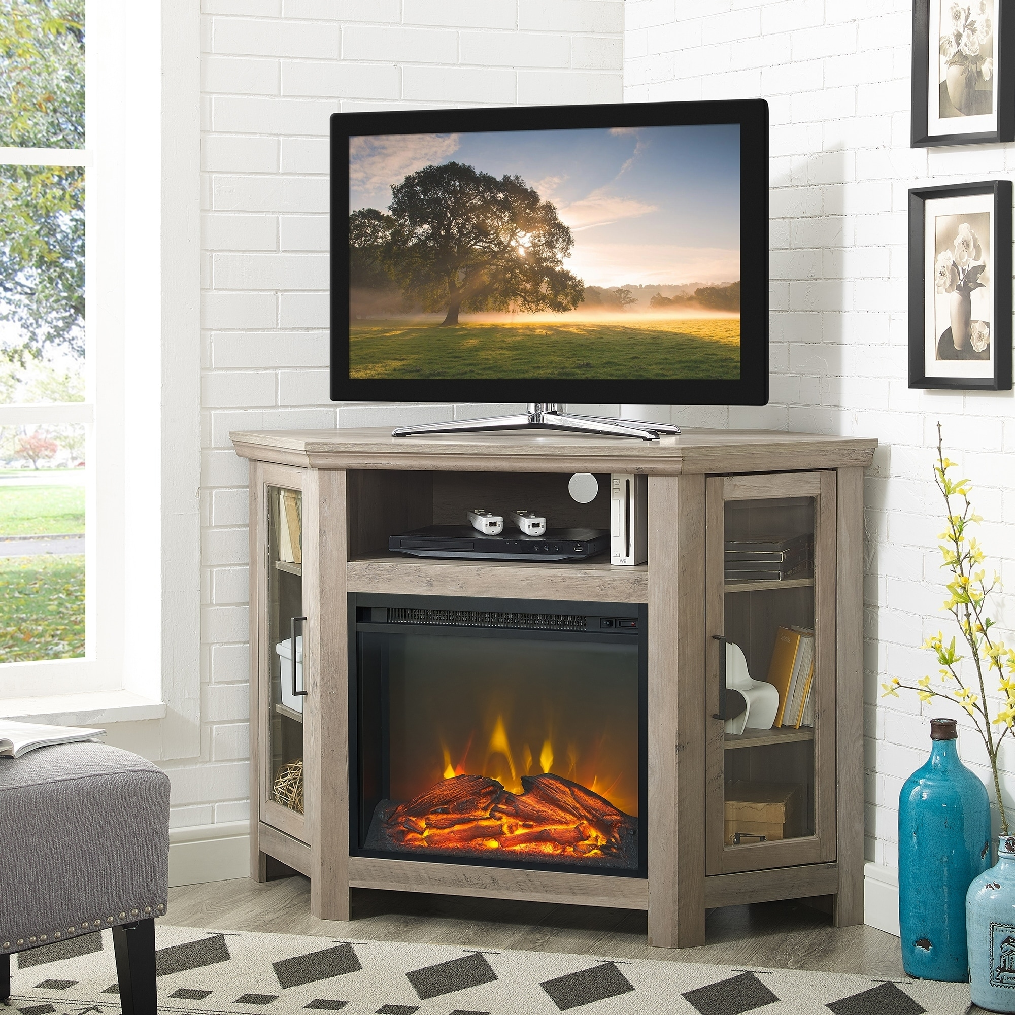 Shop 48 Corner Fireplace Tv Stand Console 48 X 20 X 32h On Sale