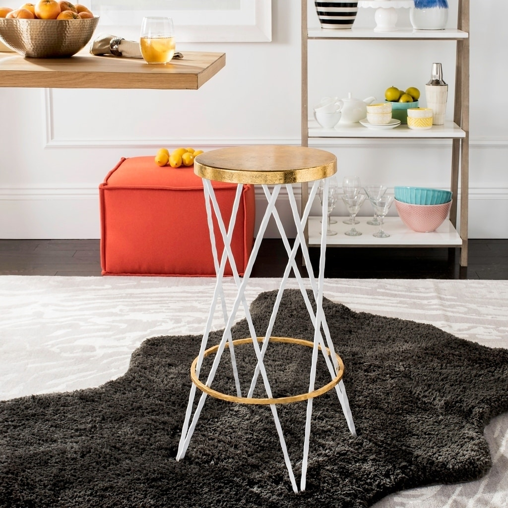 Shop Safavieh Hester White Gold Bar Stool Free Shipping Today