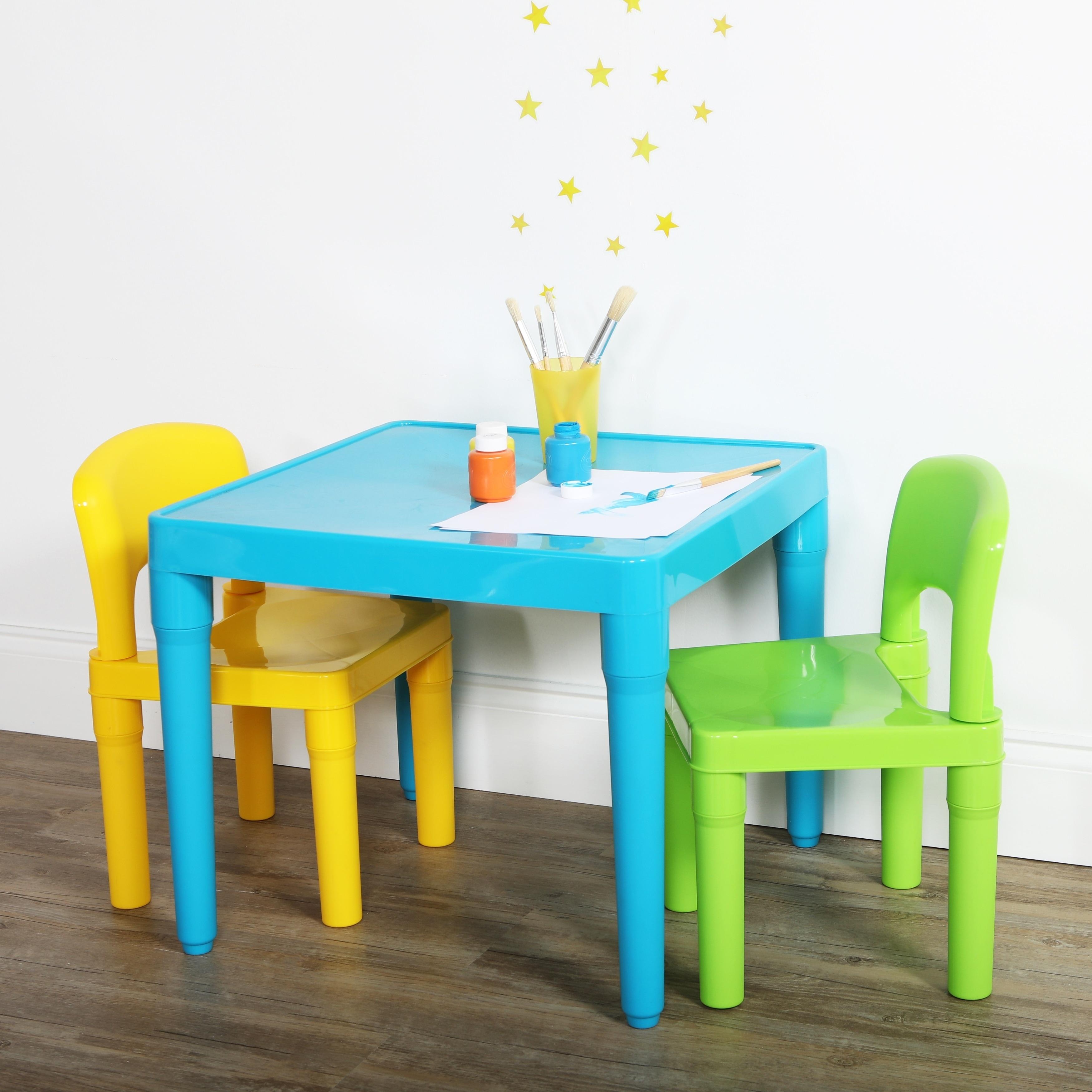 Shop Plastic Table & 2 Chairs, Aqua/Green&Yellow - Free Shipping ...