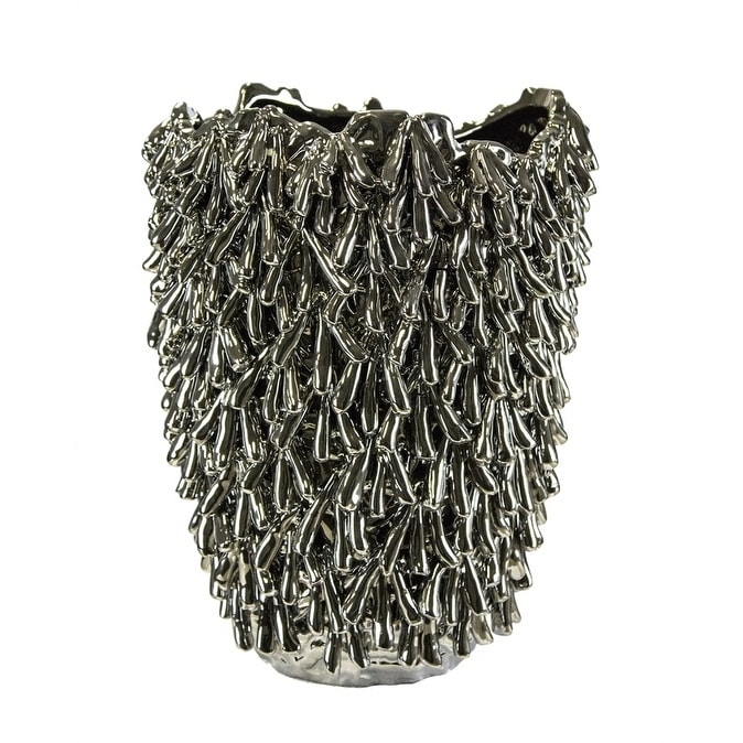 Sagebrook Home 10738 Decorative Ceramic Sea Urchin Vase Silver