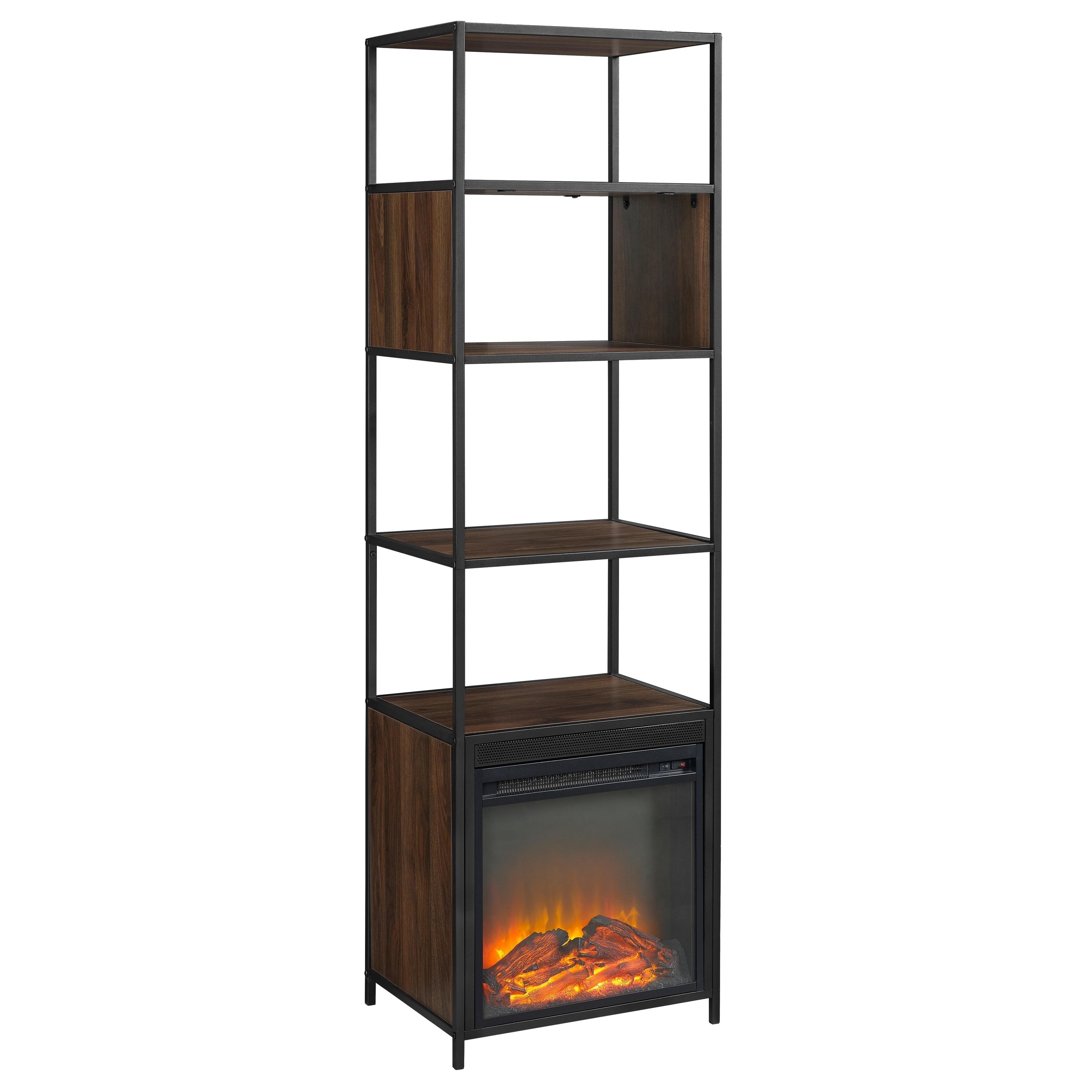 Shop Metal And Wood Tower Bookshelf Fireplace
