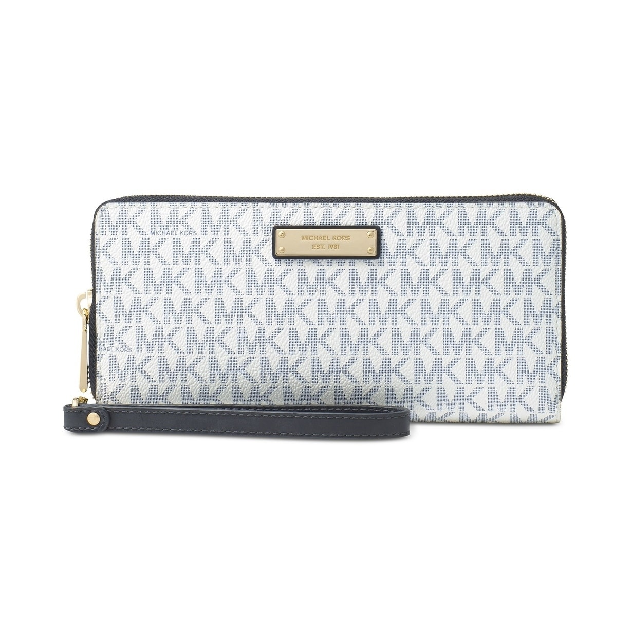 15c533189beb Shop MICHAEL Michael Kors Jet Set Item Travel Continental Wallet Optic  White/navy - Free Shipping Today - Overstock - 21257504