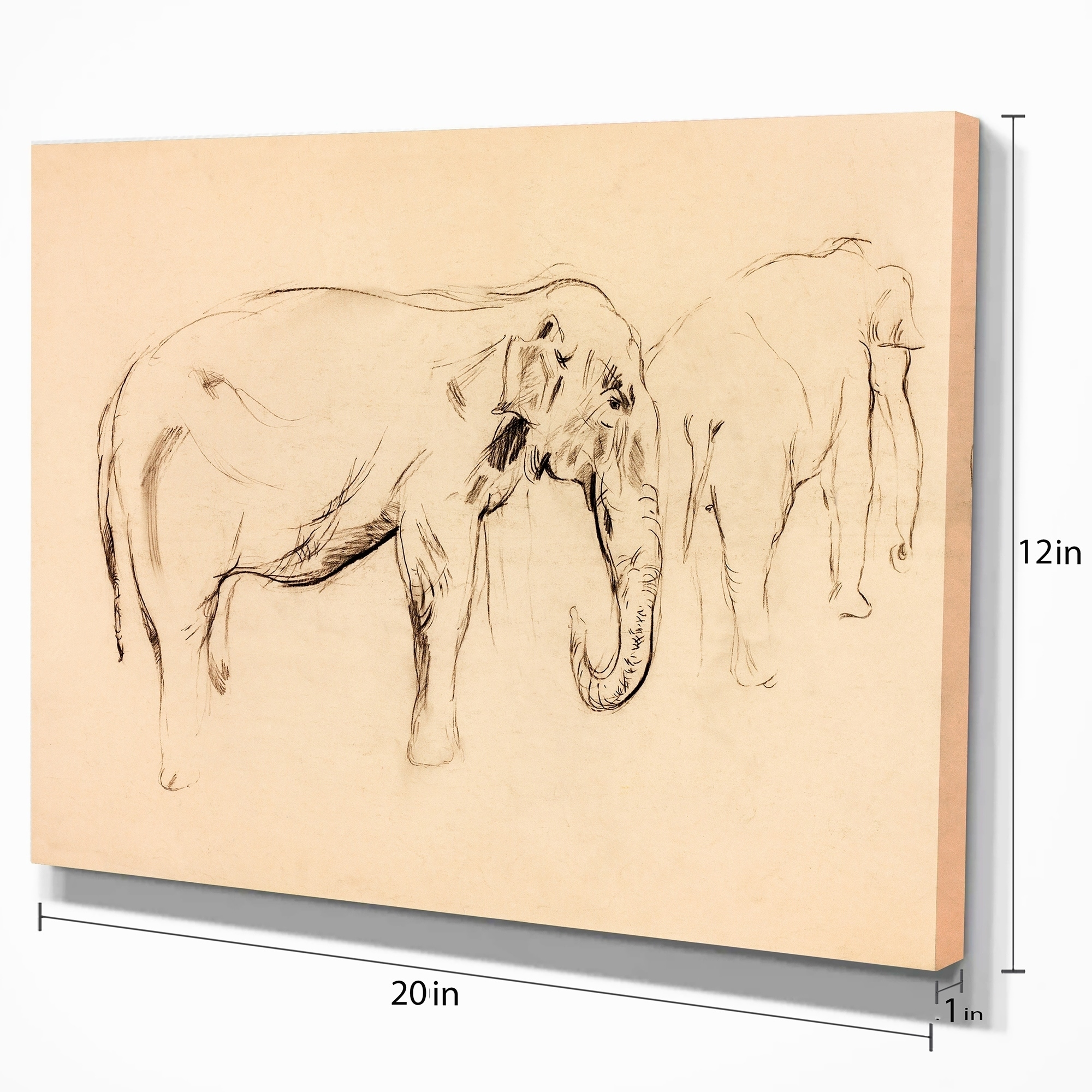 Shop designart elephant sketch animals sketch painting print on wrapped canvas brown on sale free shipping on orders over 45 overstock 21276146