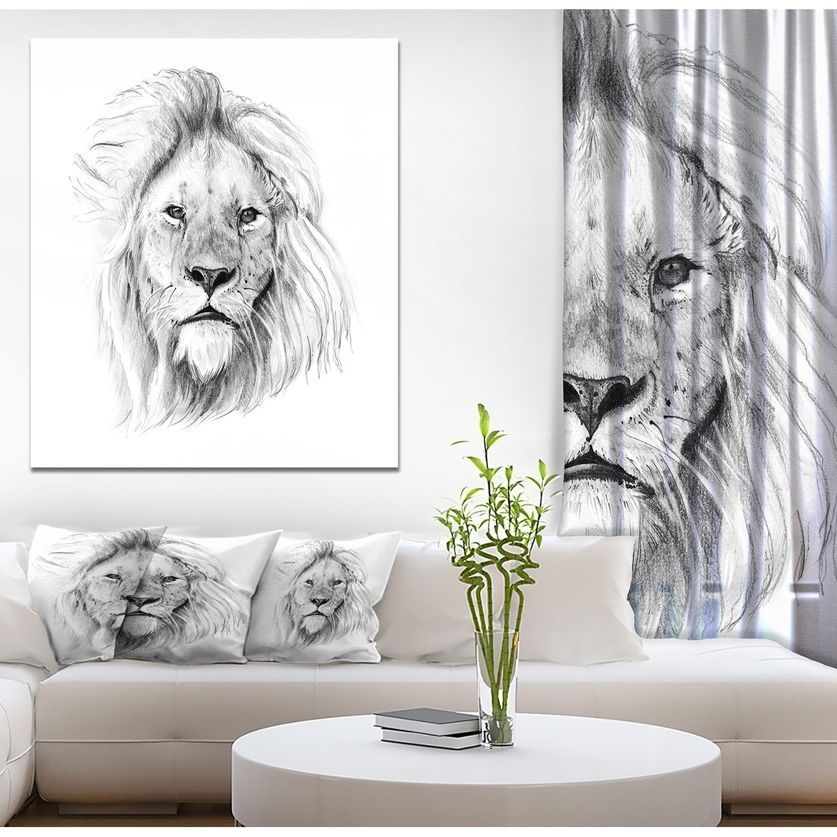 Designart pencil lion sketch in black and white animals painting print on wrapped canvas white