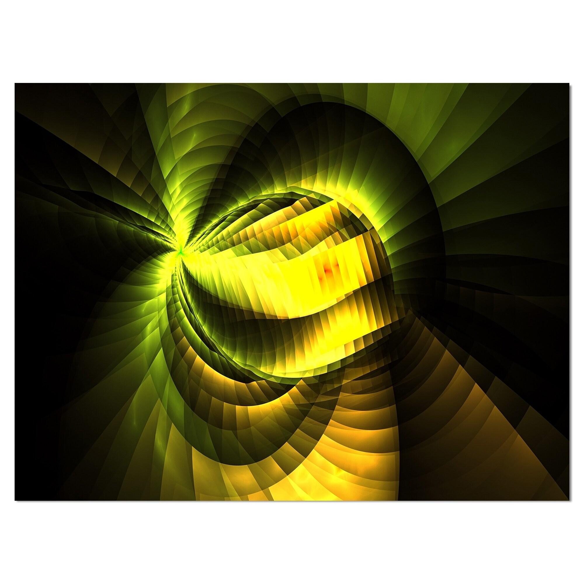 Designart \'Yellow Infinity kaleidoscope Flower\' Floral Contemporary ...