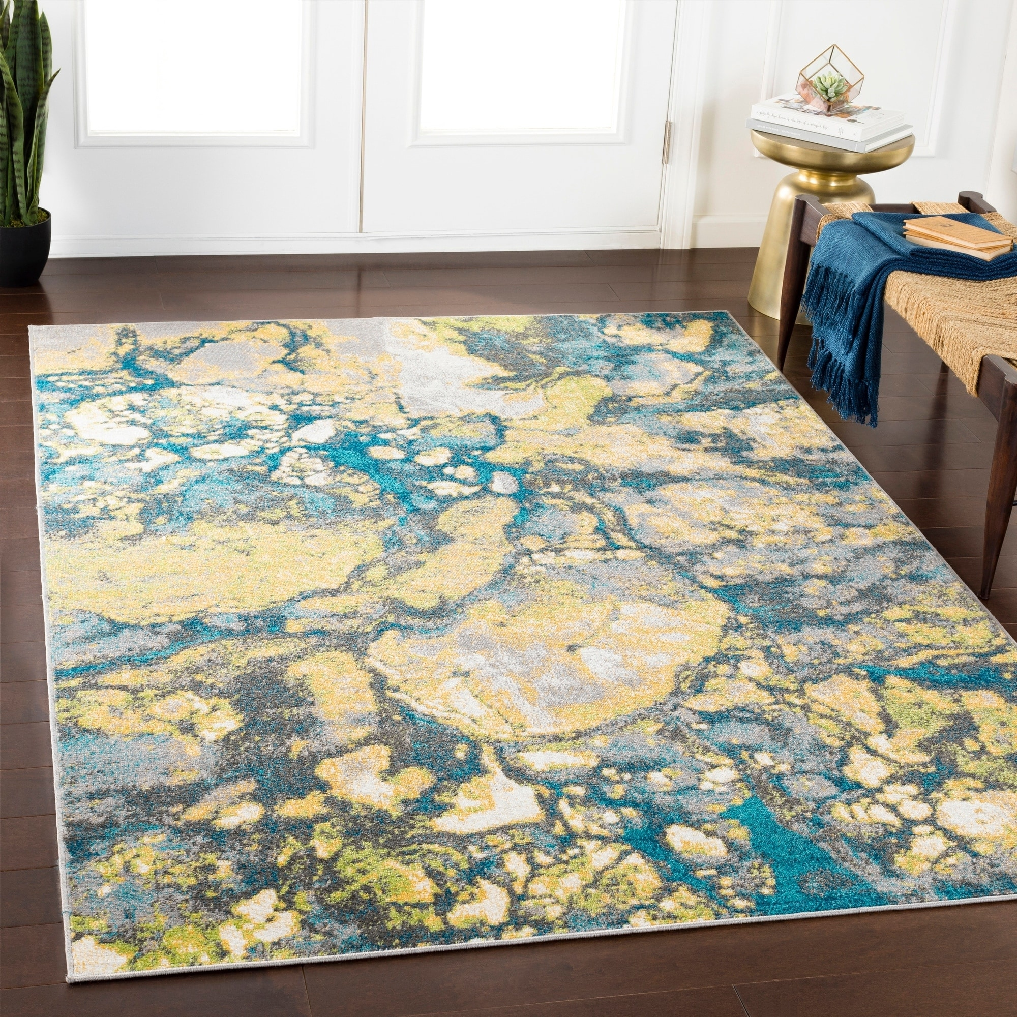 Andi Teal Lime Abstract Area Rug 5 3 X 7 6 On Free Shipping Today 21279264