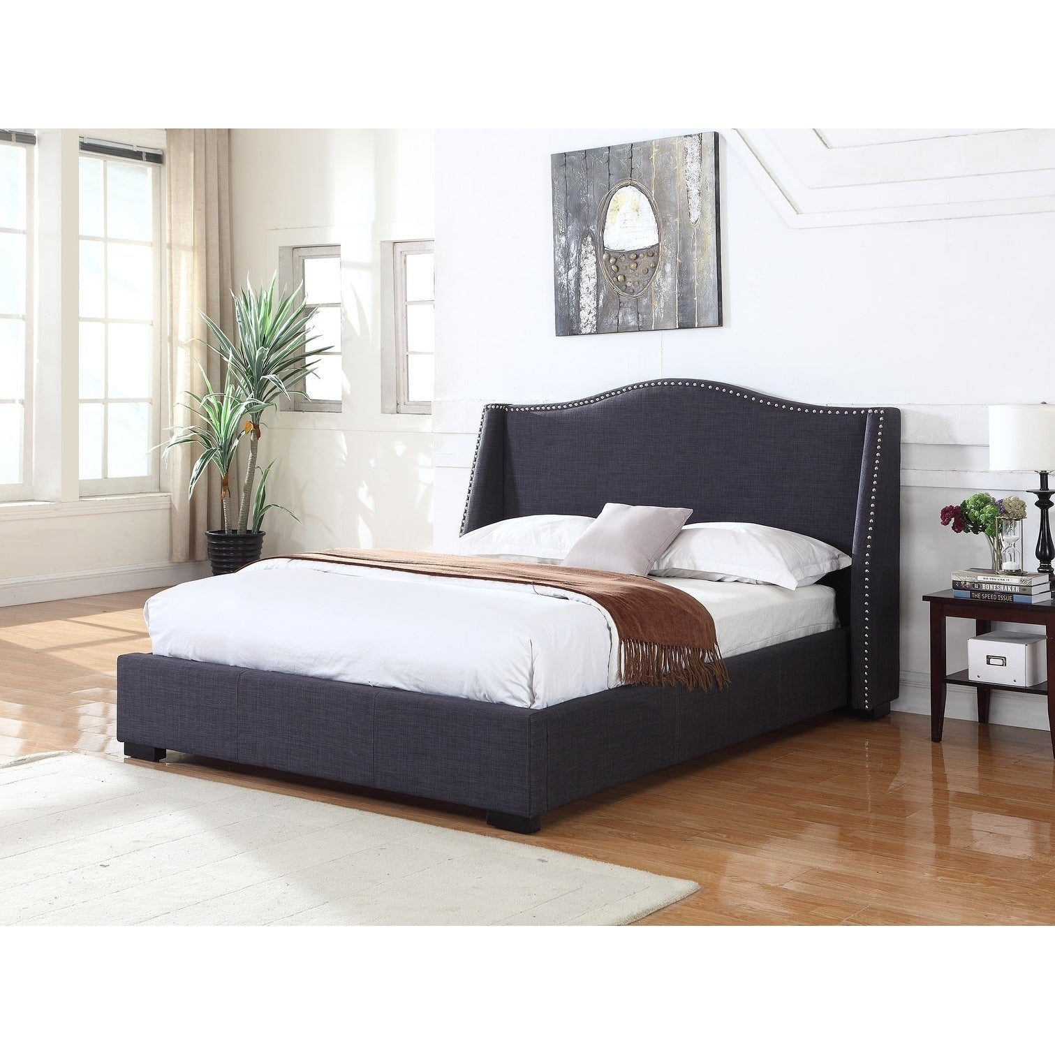Shop best master furniture 386 charcoal upholstered panel bed free shipping today overstock com 21280530