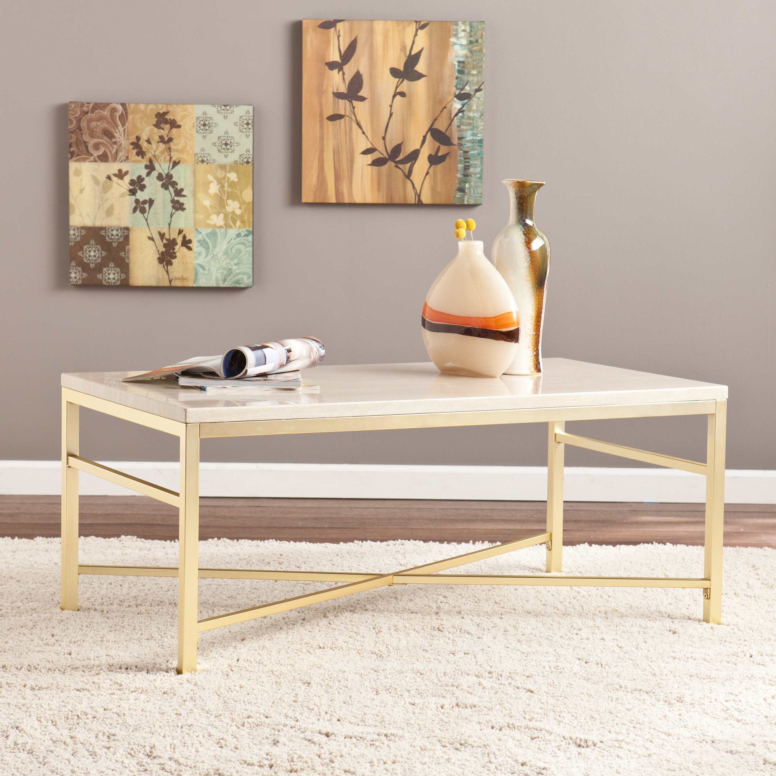 Silver Orchid Grant Faux Stone Coffee Tail Table Free Shipping Today 21285258