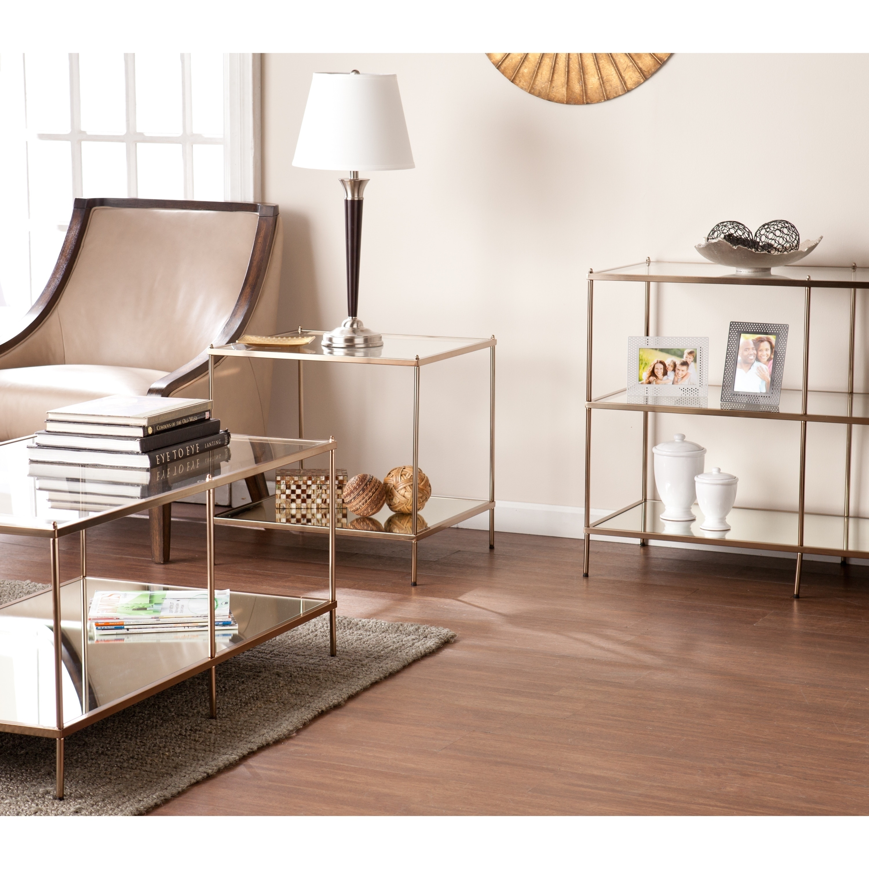 Shop Silver Orchid Olivia Goldtone Glass Top Coffee Table Sale