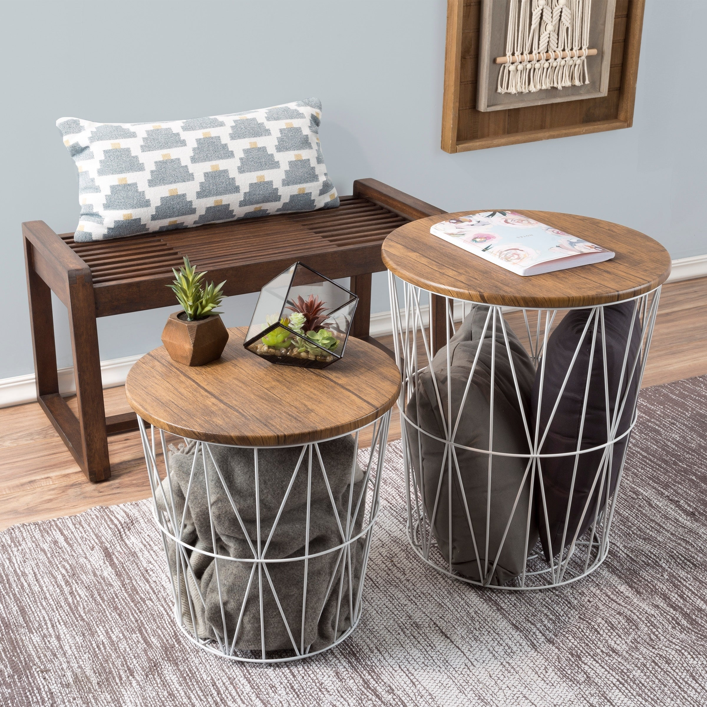 Shop Nesting End Tables With Storage  Set Of 2 Convertible Round Metal  Basket Veneer Wood Top Accent Side Tables By Lavish Home   On Sale   Free  Shipping ...