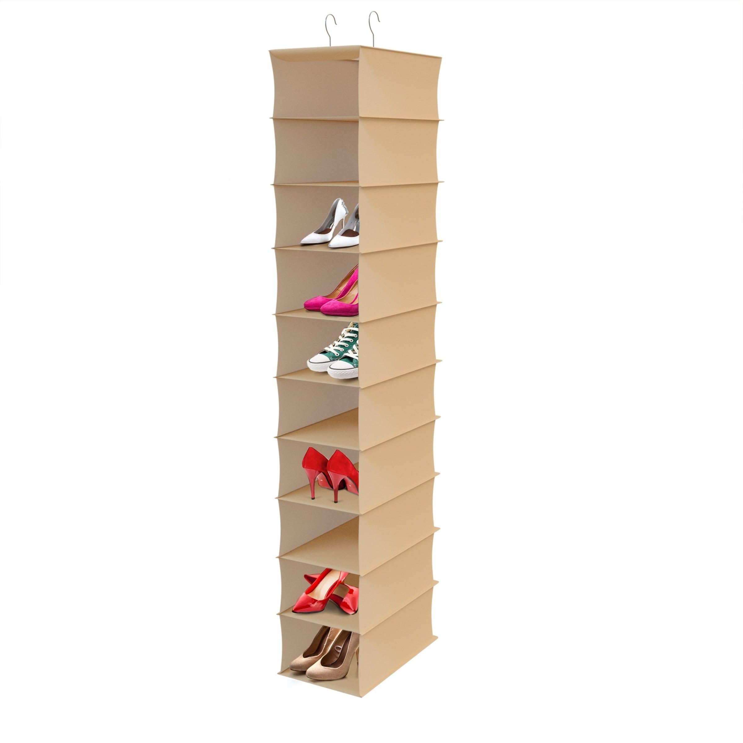 Hanging Shoe Organizer 10 Shelf Vertical Closet Storage For Heels Flats Sneakers E Saving By Lavish Home