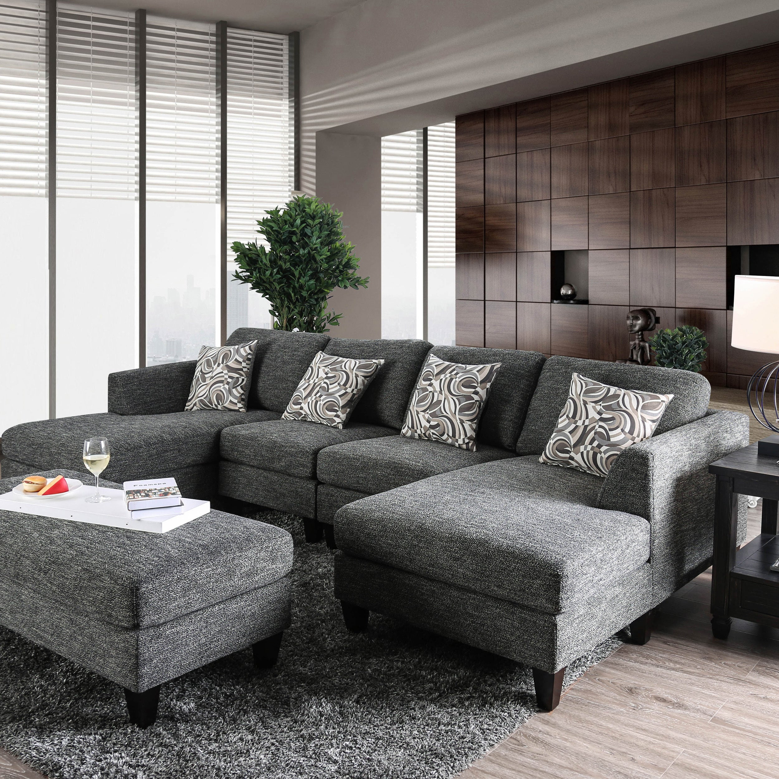 Breckenridge Grey 4-piece Chenille Modular Sectional Sofa by FOA