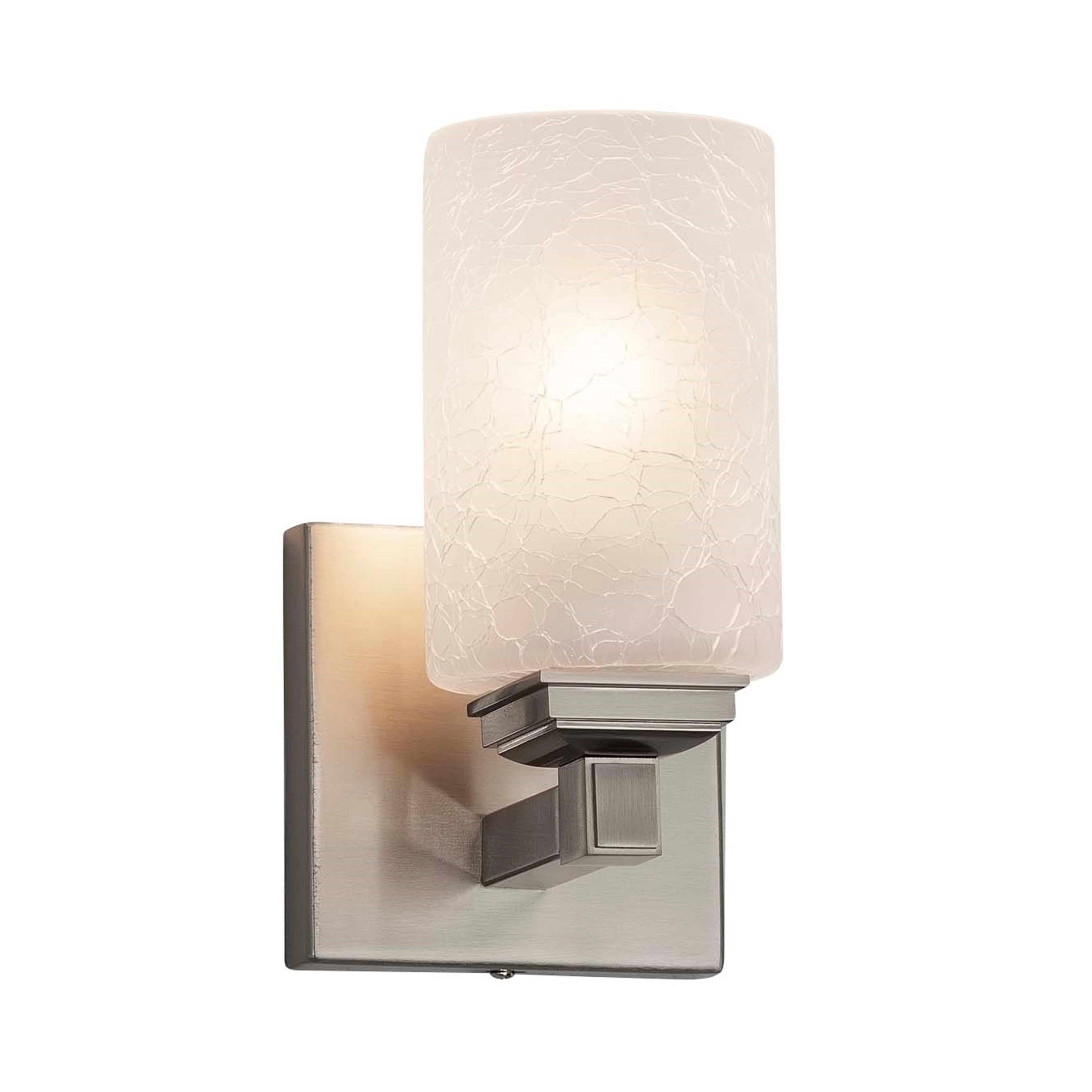 Justice design group fusion regency 1 light brushed nickel wall sconce frosted crackle cylinder w flat rim shade
