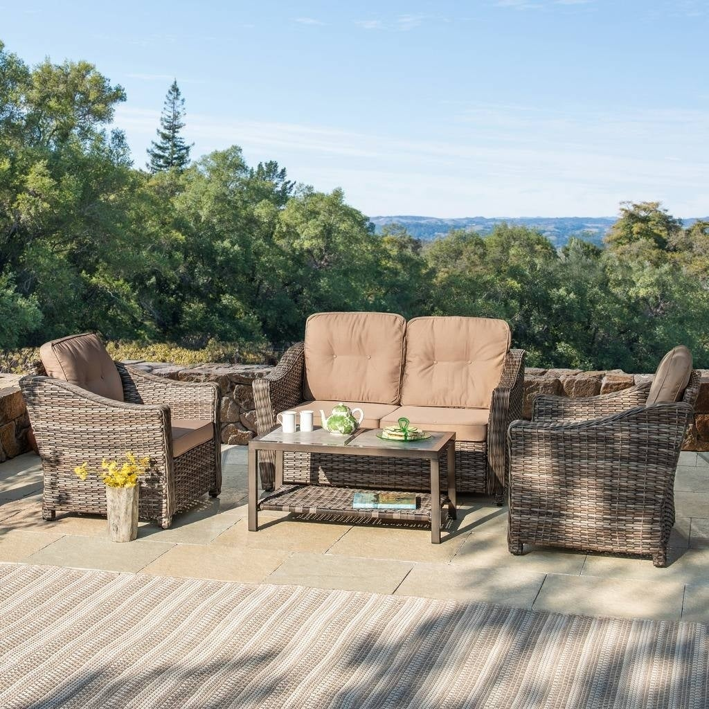 Incroyable Shop Corvus Dinard 4 Piece Wicker Patio Seating Set With Cushions   Free  Shipping Today   Overstock.com   21334004