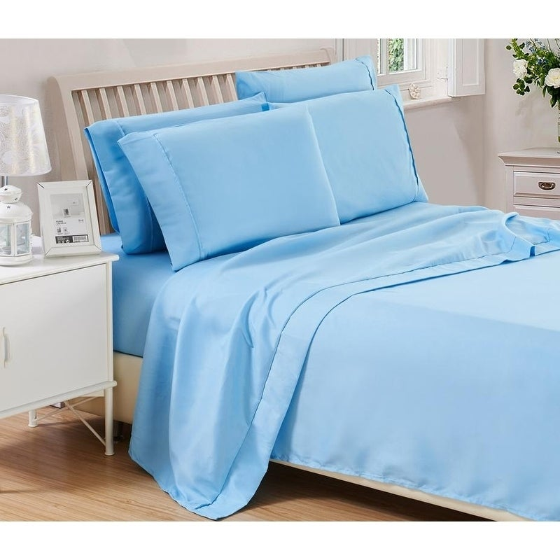 6 Piece Solid Brushed 1800 Series Bed Sheets Set Deep Pocket Stain Resistant Soft Extremely Durable Sheet