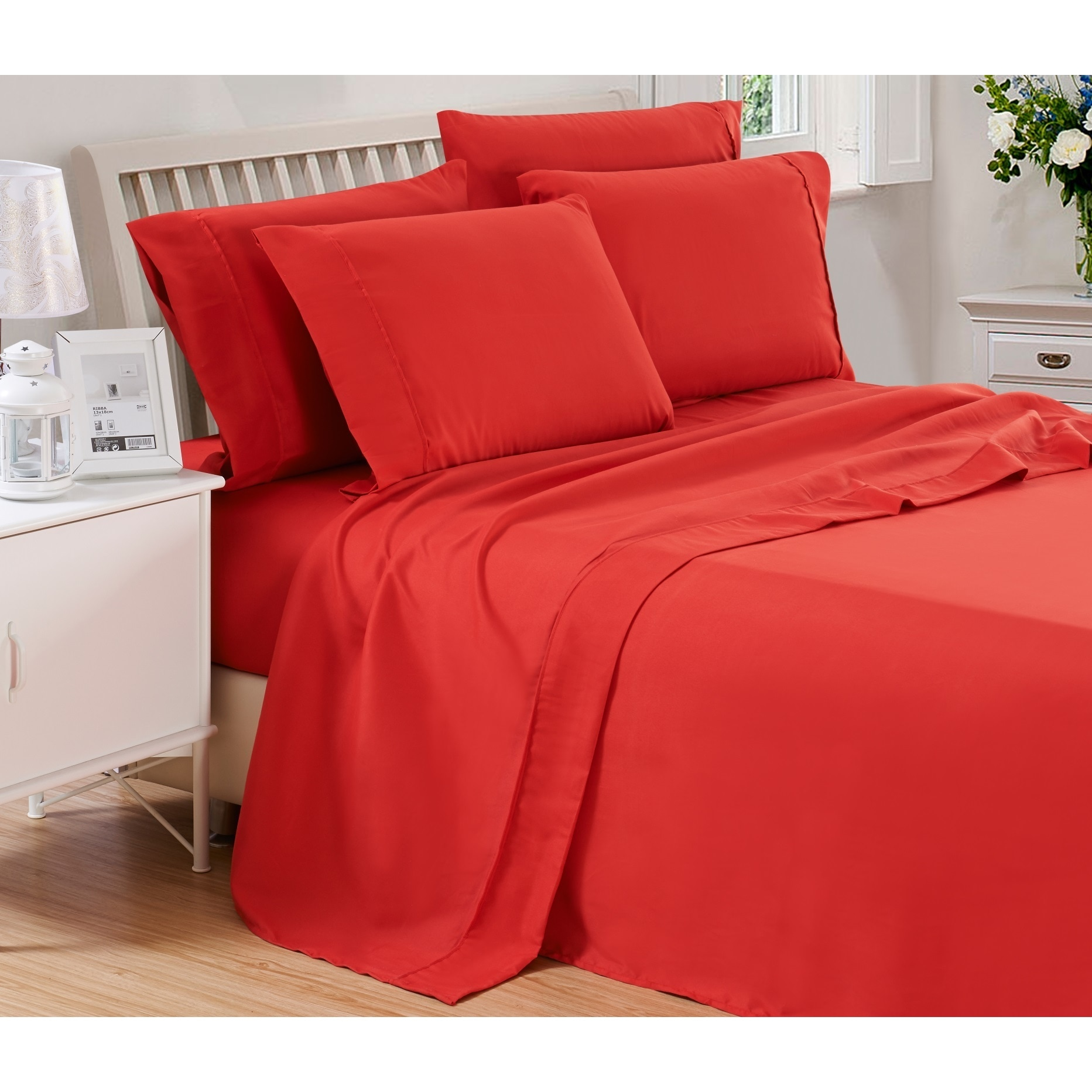 6 Piece Solid Brushed 1800 Series Bed Sheets Set Deep Pocket Stain Resistant Soft Extremely Durable Sheet Free Shipping On Orders Over 45
