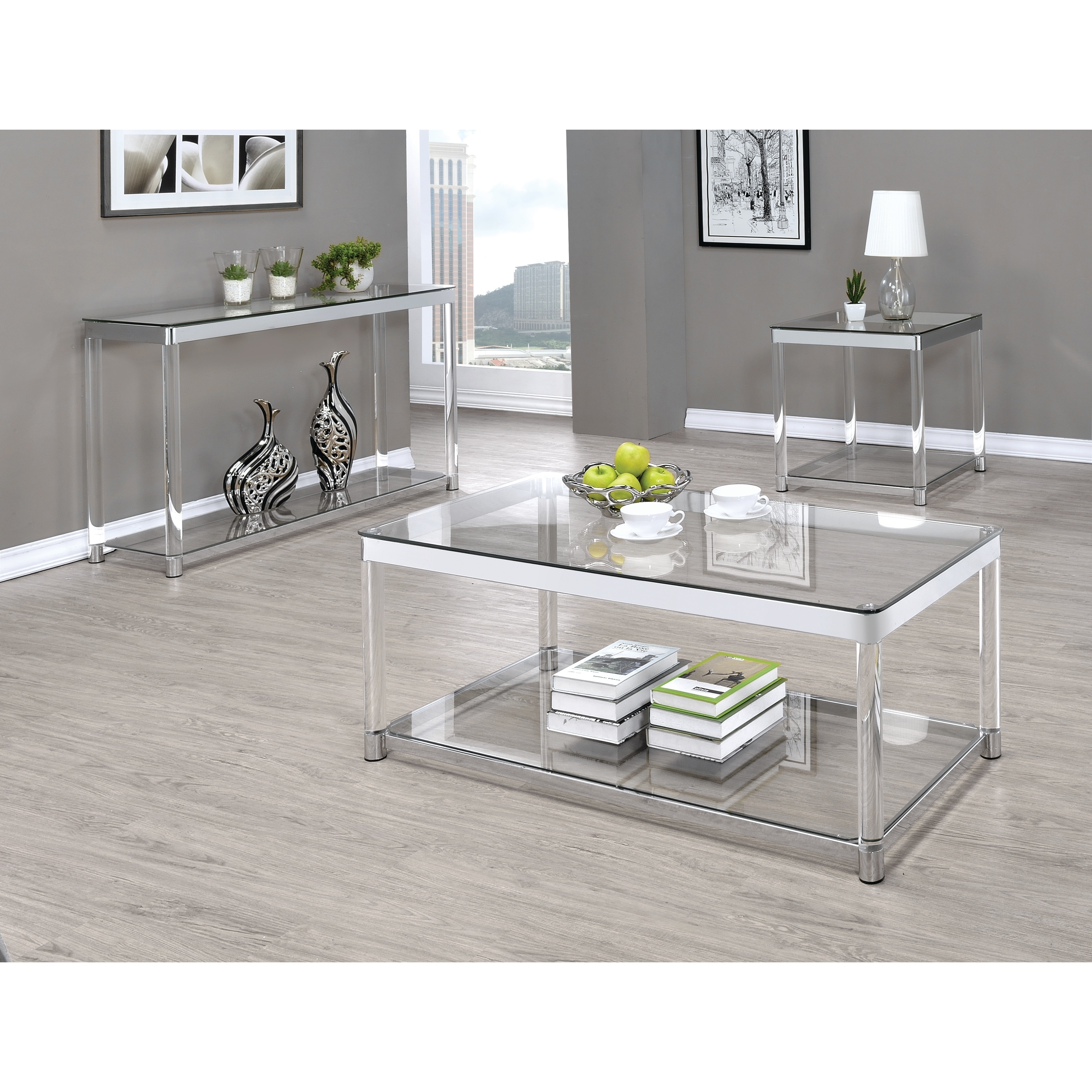 Shop Contemporary Chrome Glass Top And Acrylic Legs Sofa Table