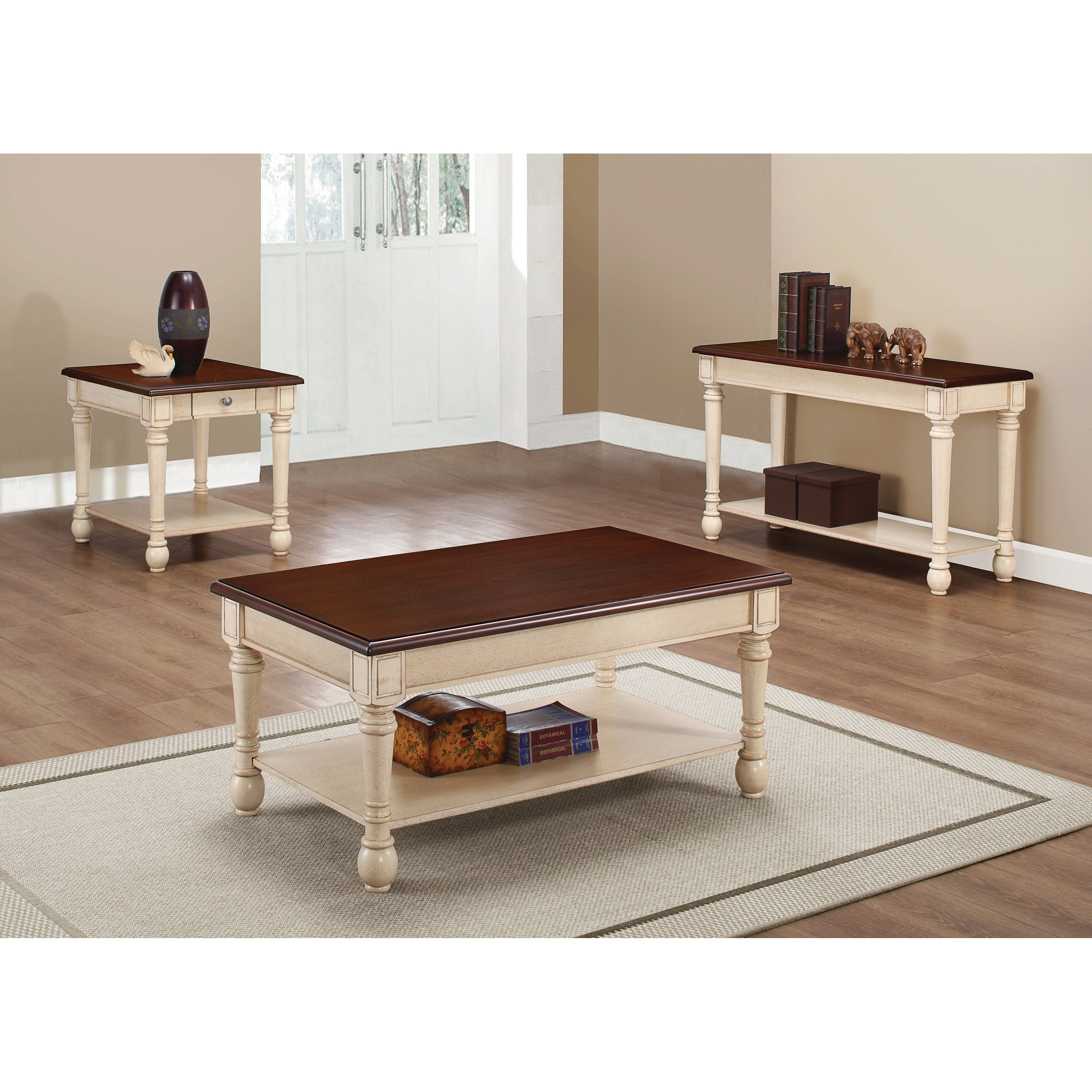 Transitional Dark Brown And Antique White Coffee Table Free Shipping Today 21339061