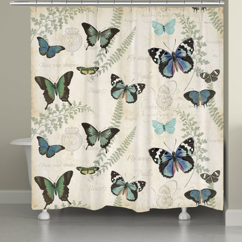Shop Black Friday Deals On Laural Home Elegant Butterfly Shower Curtain Overstock 21340054