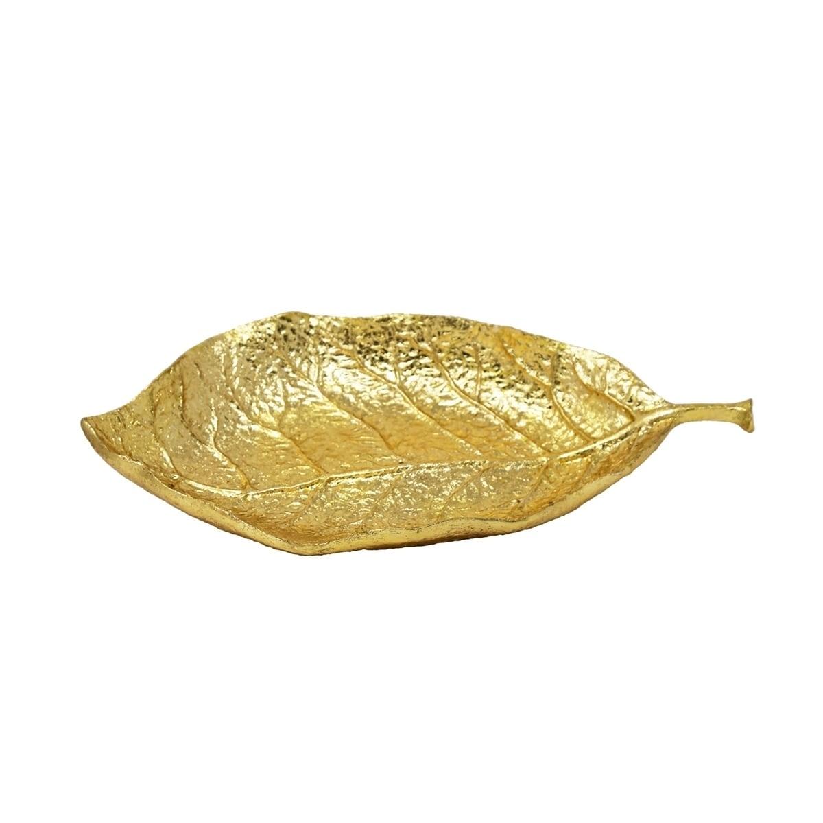 Shop Sagebrook Home 13077-01 Polyresin Leaf Wall Decor, Gold ...