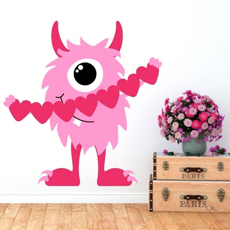 shop cute pink monster hearts full color wall decal sticker k-1105