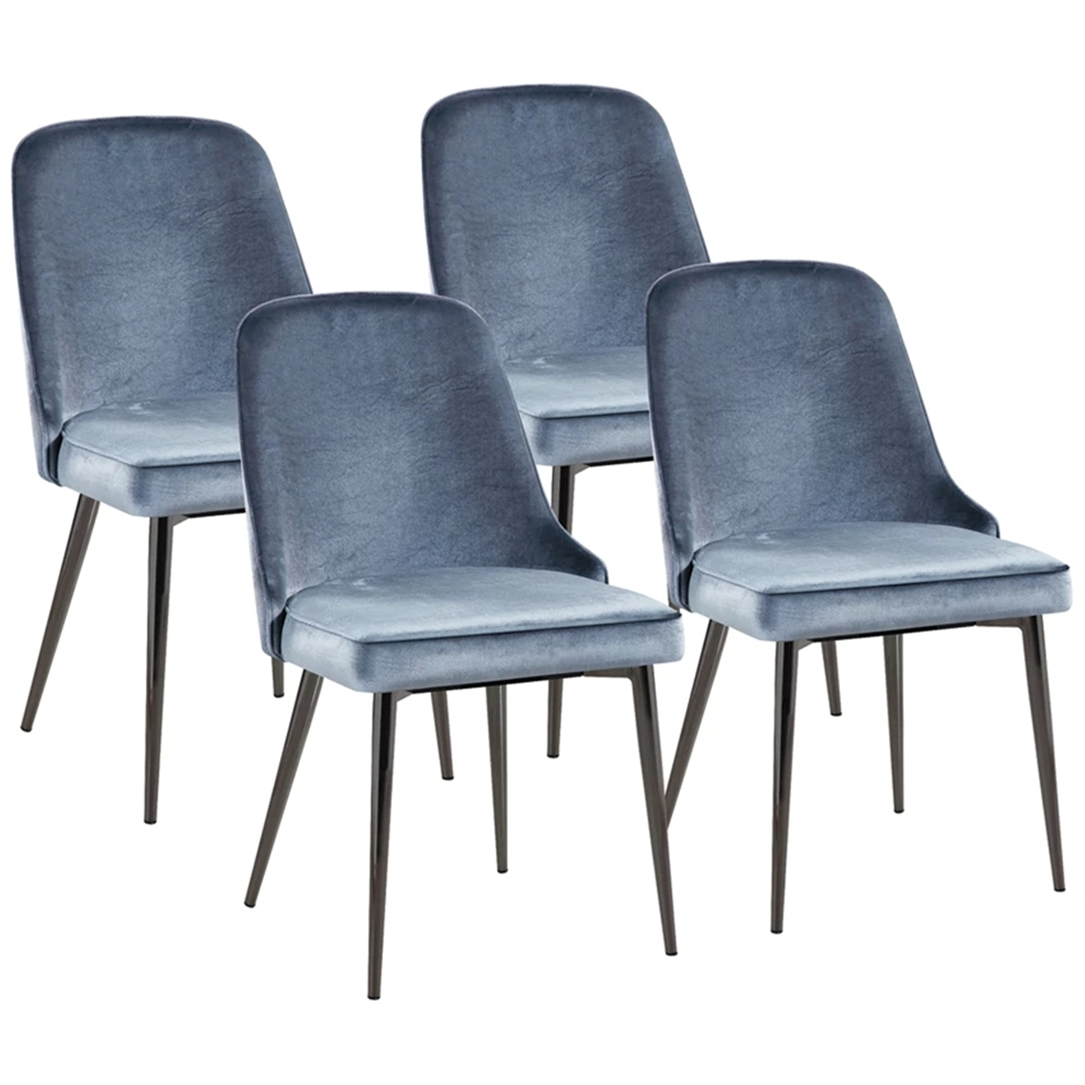 Shop Modern Chic Design Blue Velvet With Metal Legs Dining Chairs