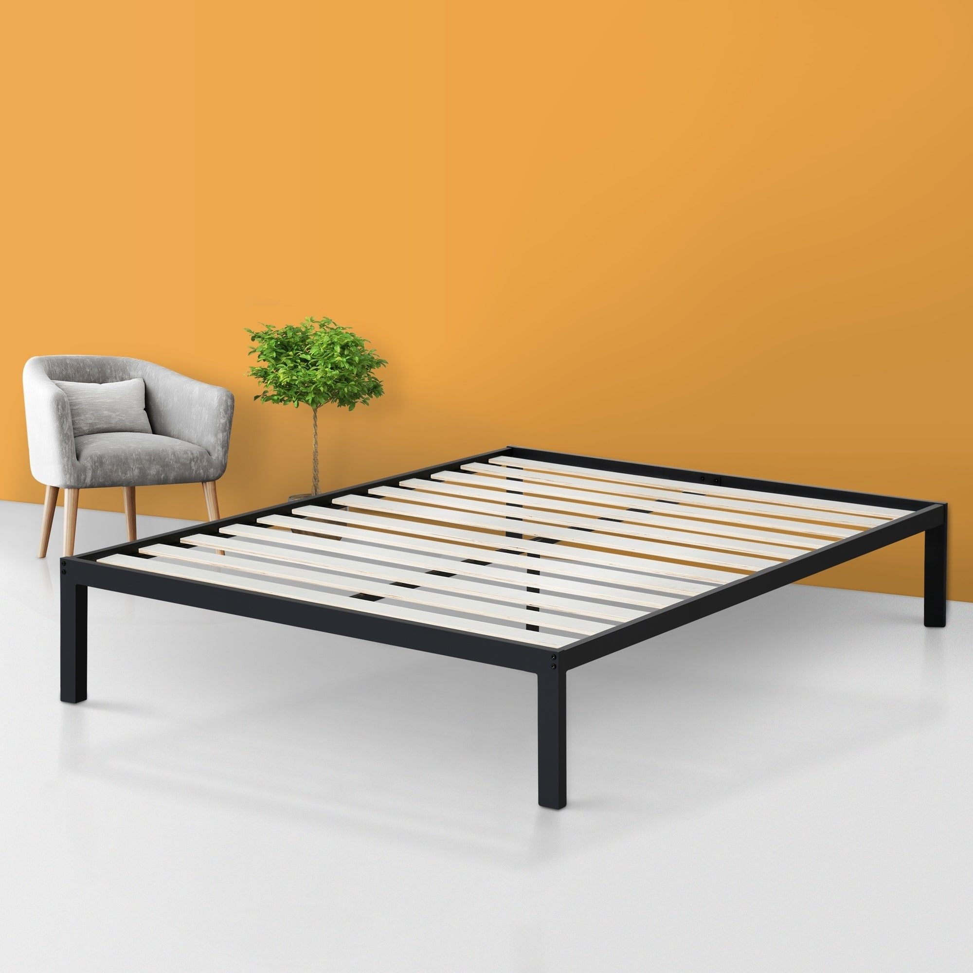Sleeplanner 14 Inch Platform Metal Bed Frame Wooden Slat Support Full Size