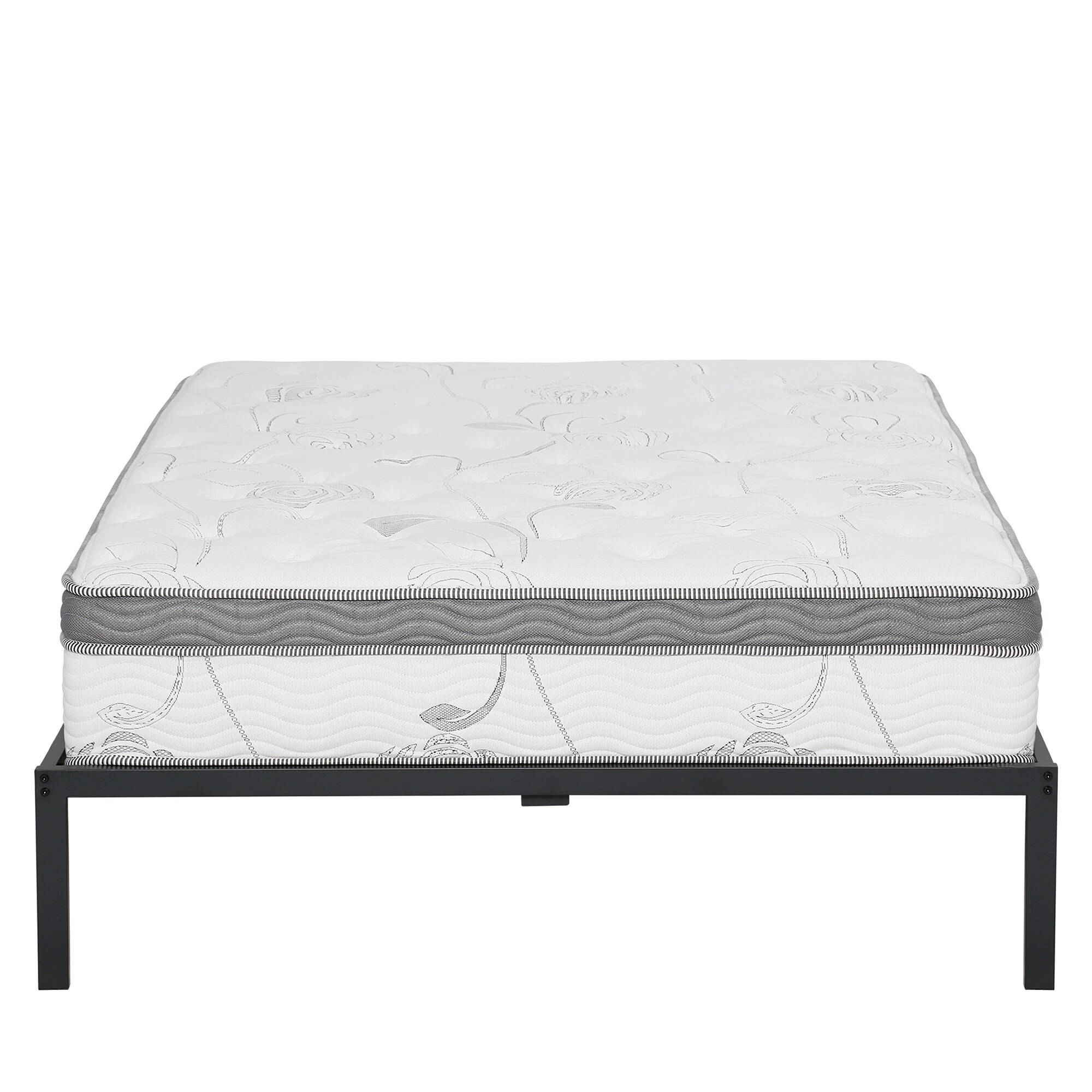 Shop Sleeplanner 14 Inch Platform Metal Bed Frame With Plastic Leg Mats Queen Size