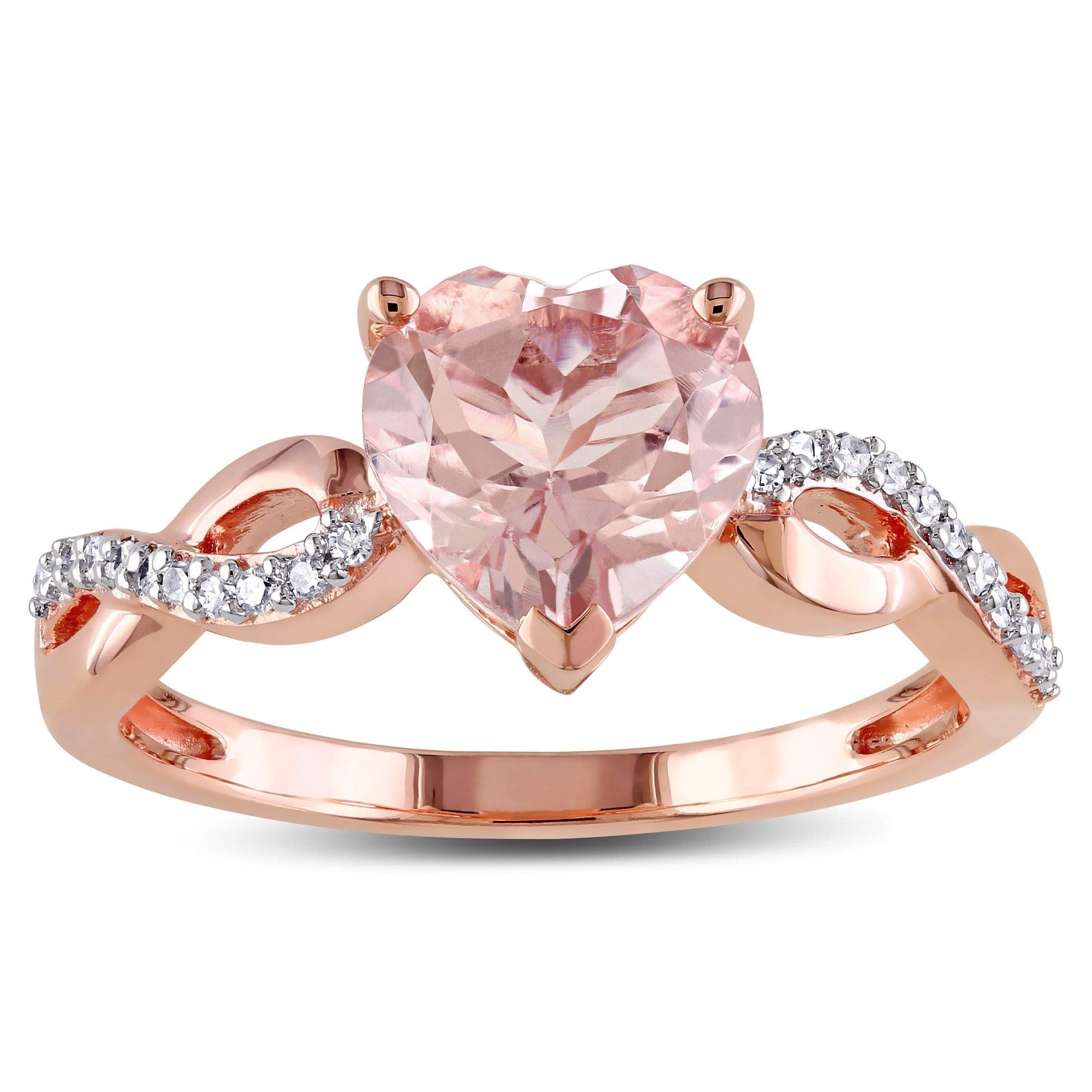 Miadora 10k Rose Gold Heart Shaped Morganite and 1/10ct TDW Diamond ...