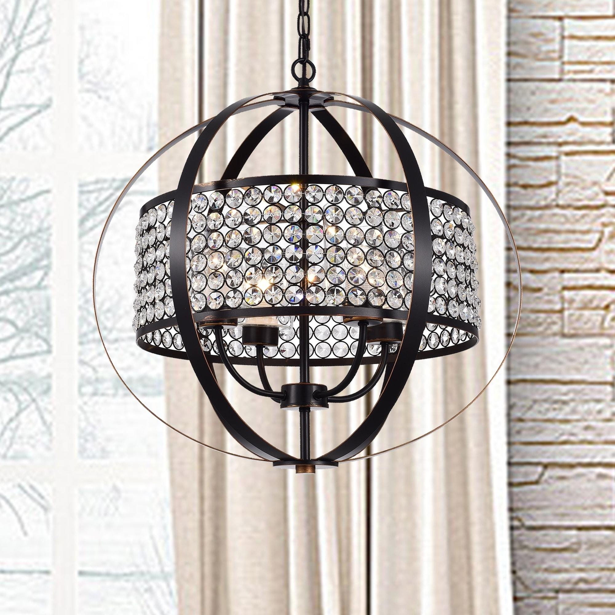 Shop Elizabeth Oil Rubbed Bronze 4-Light Globe Pendant with Crystal ...