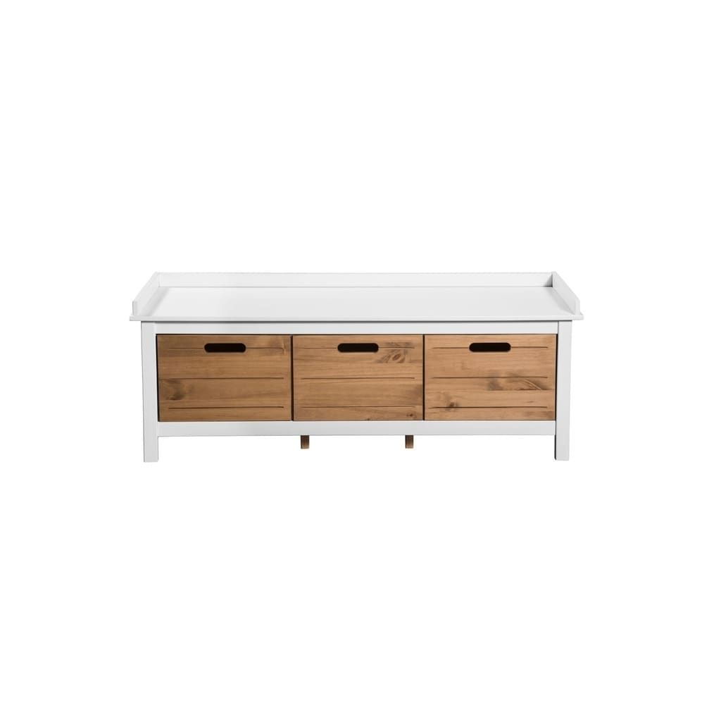 Shop mid century modern 3 drawer irving storage white natural entryway bench entryway free shipping today overstock com 21382017