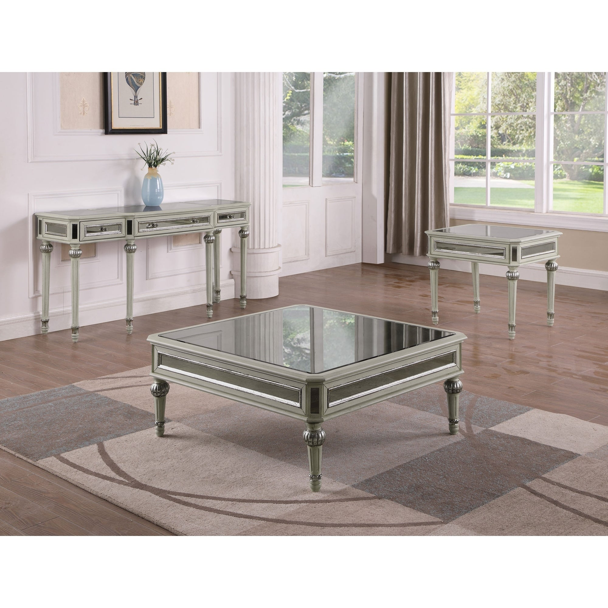 Shop Best Master Furniture Antique Cream With Mirrored Square Coffee - Antique cream coffee table