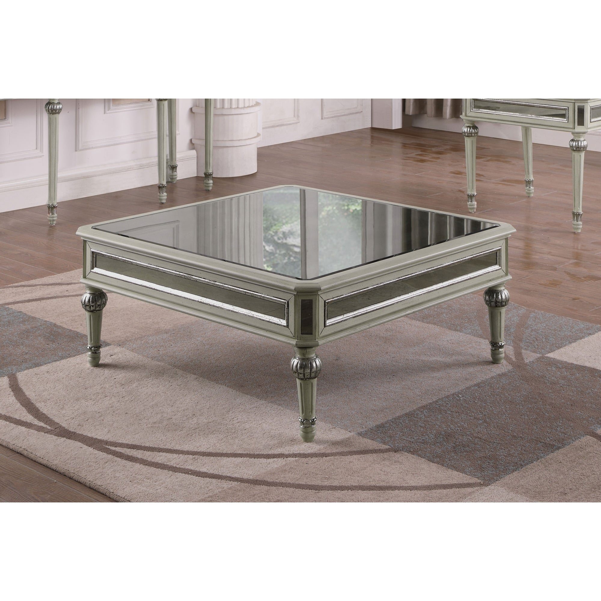 Best Master Furniture Antique Cream With Mirrored Square Coffee Table Free Shipping Today 21383517