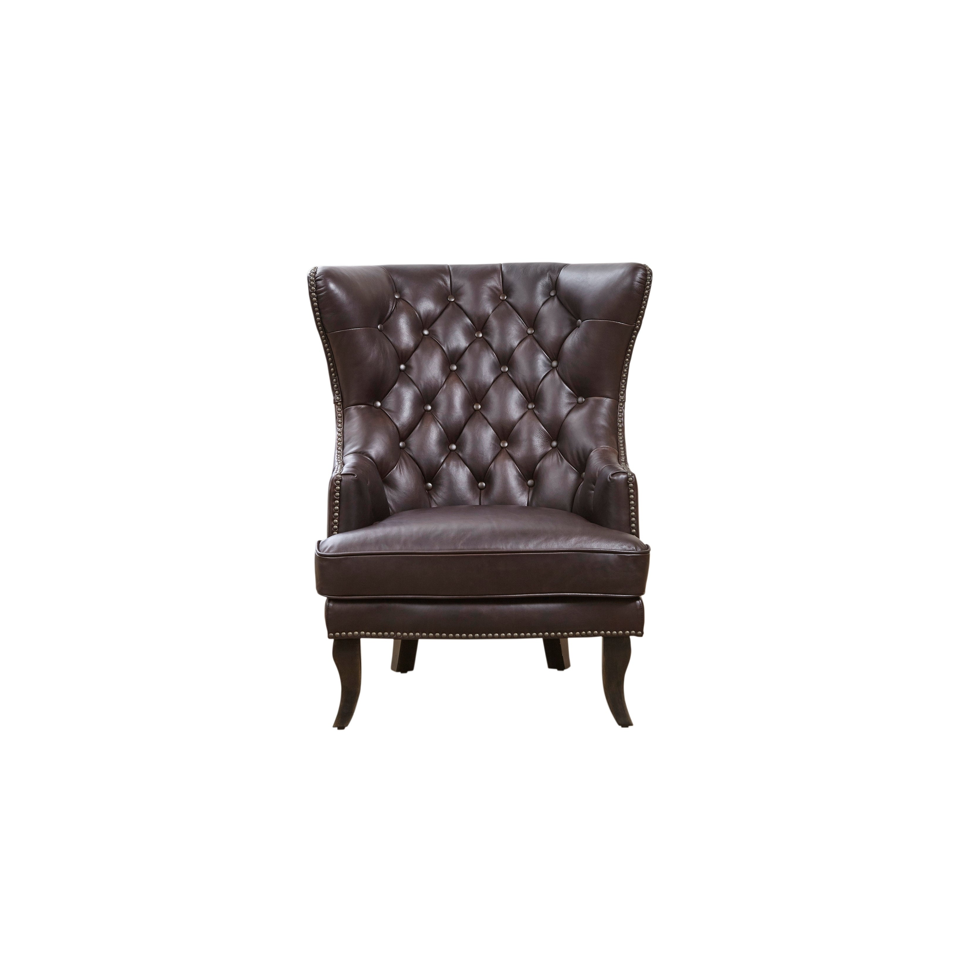 Shop Lazzaro Leather Linville Brompton Chocolate Wing Back Chair - Free Shipping Today - Overstock - 21384758  sc 1 st  Overstock.com & Shop Lazzaro Leather Linville Brompton Chocolate Wing Back Chair ...