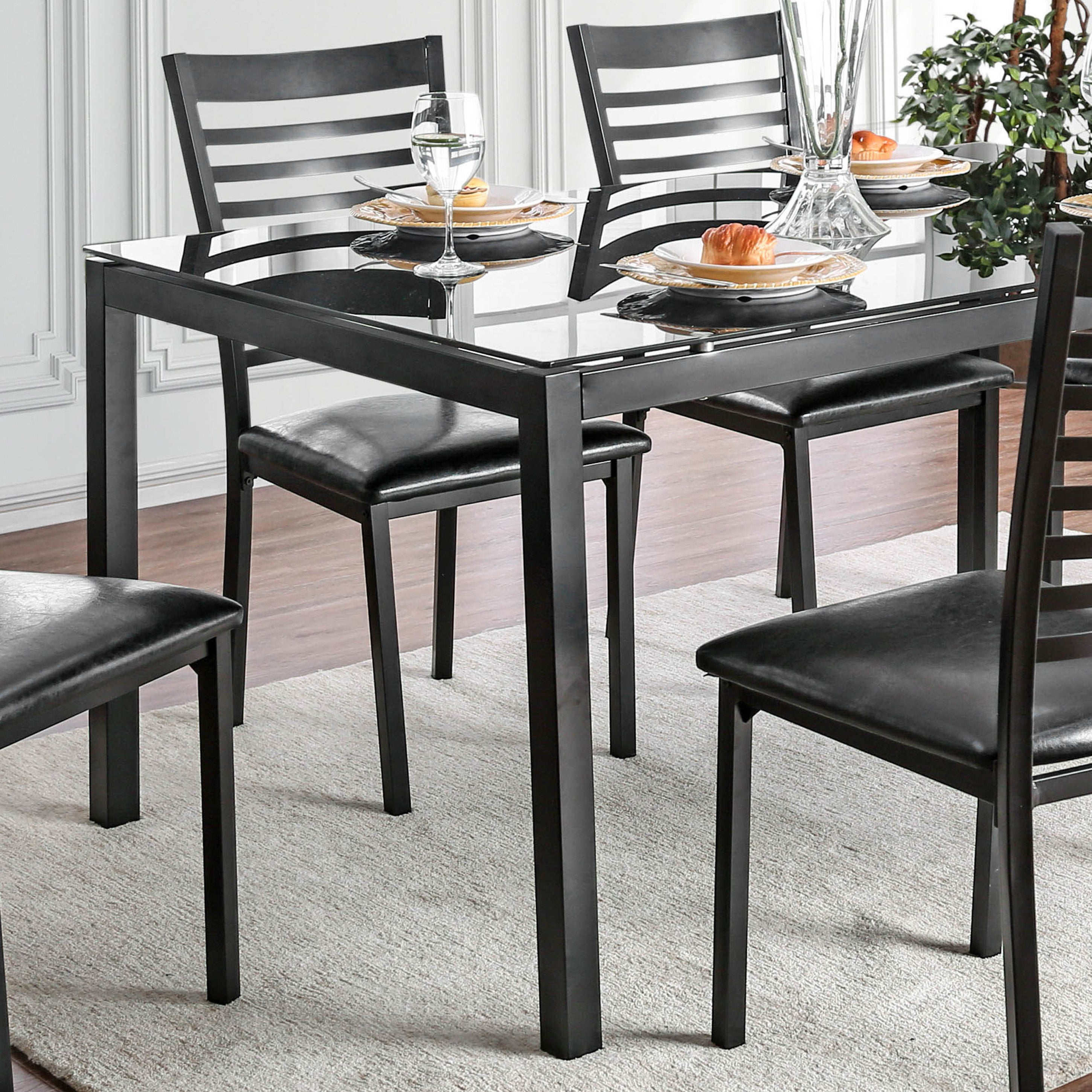 Shop furniture of america parker 60 inch metal glass top dining table free shipping today overstock com 21394946