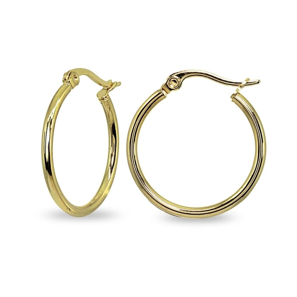 bcd9a9d05 Mondevio 2x30mm Medium Round Stainless Steel Hoop Earrings - Silver