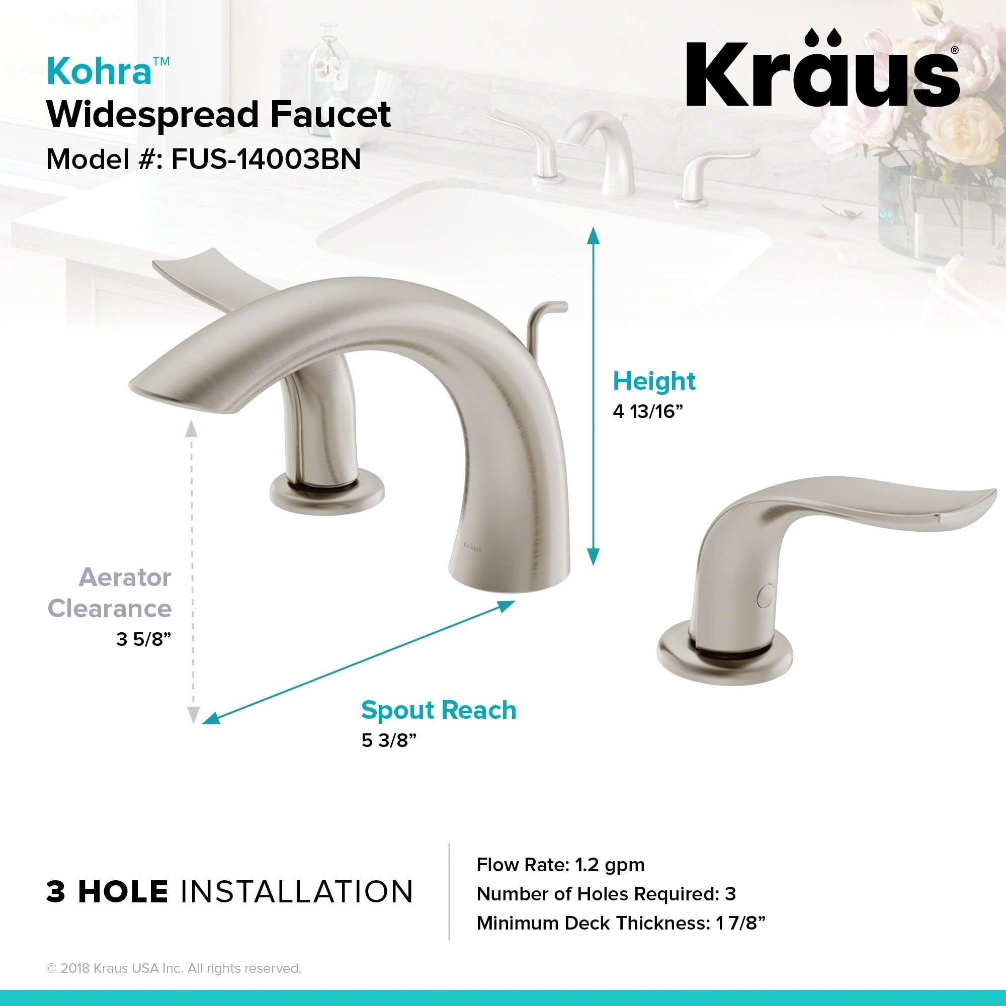 Shop Kraus Kohra Spot Free All Brite Brushed Nickel Two Handle 8