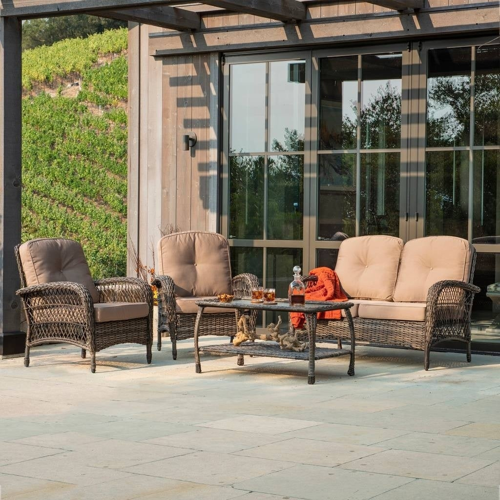 Merveilleux Shop Corvus Padova 4 Piece Wicker Patio Chat Set   Free Shipping Today    Overstock.com   21417060