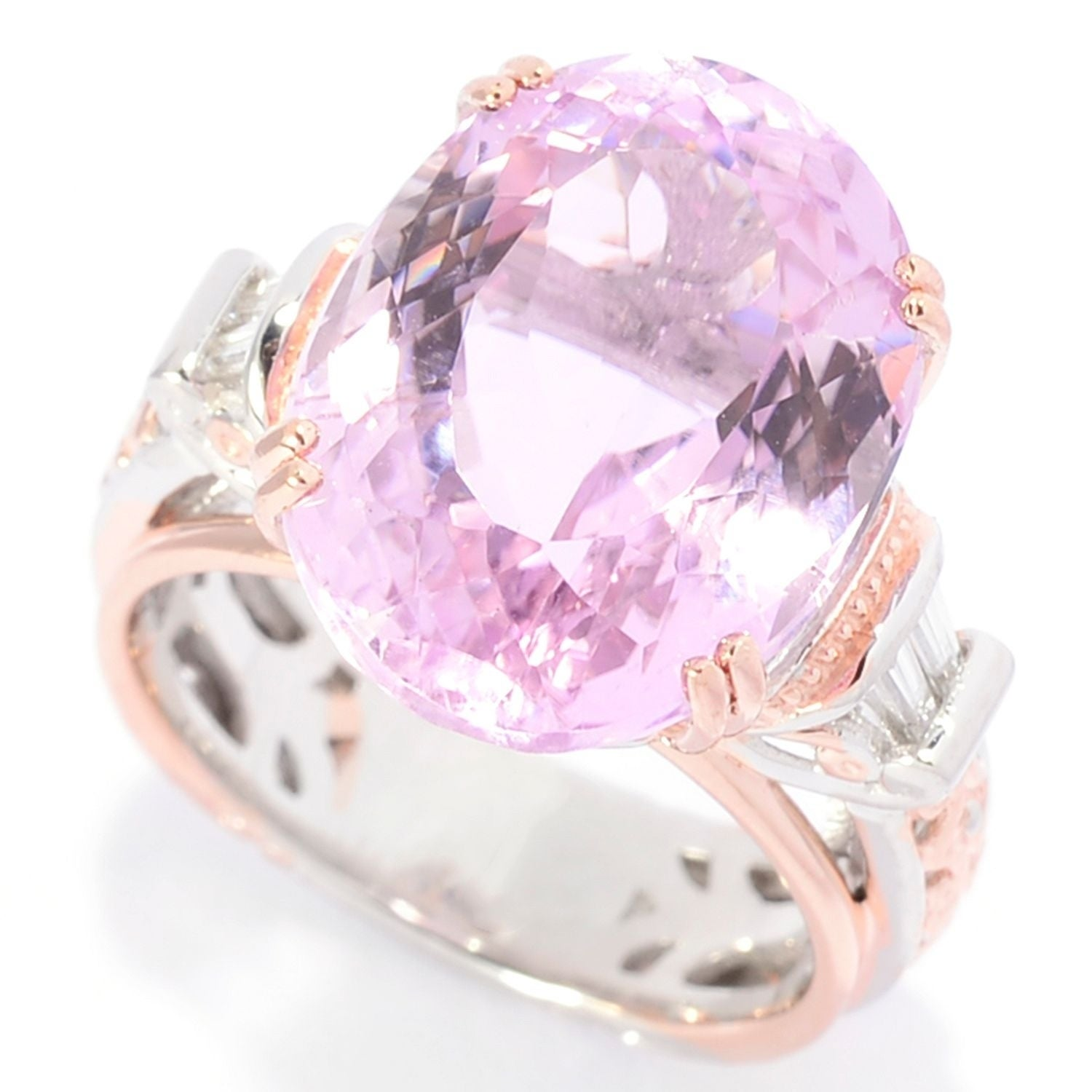 Shop Michael Valitutti Palladium Silver Kunzite and Diamond Ring ...
