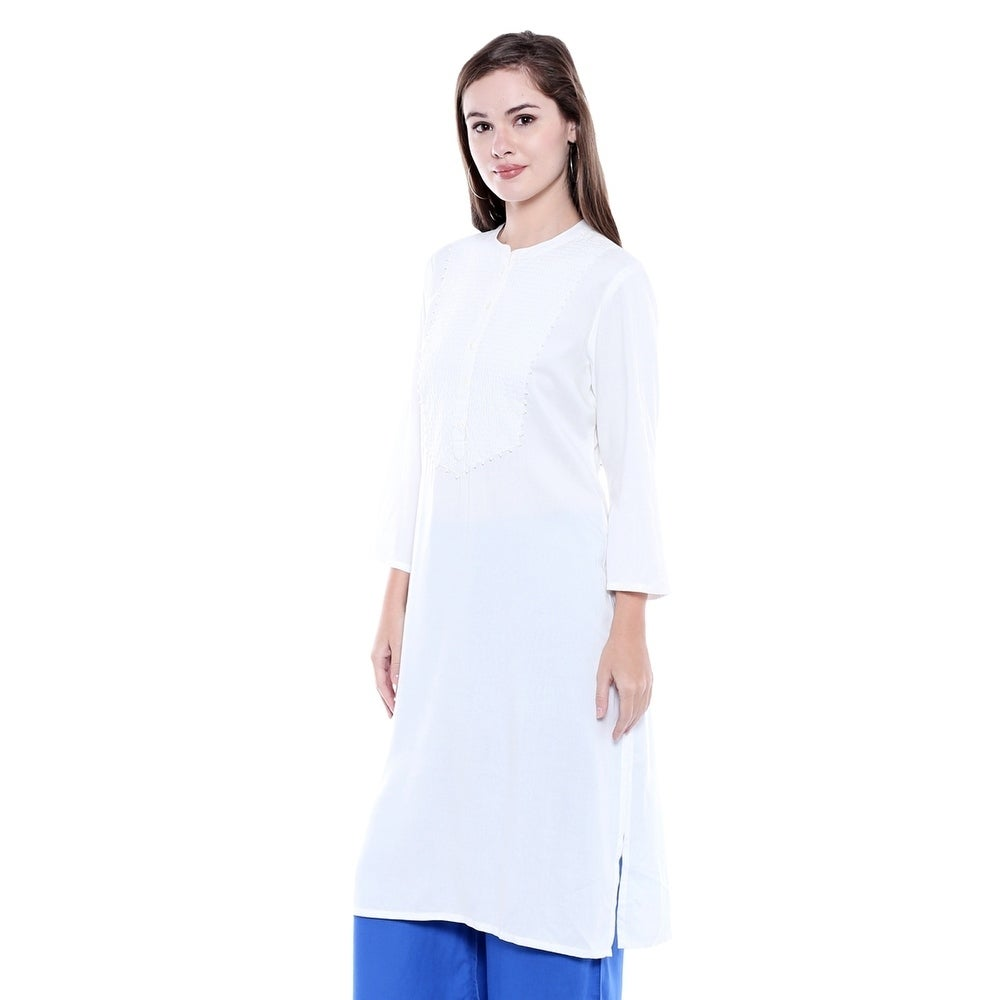 c9c6412eb55 Shop In-Sattva Women's Indian Summer Patterned Yoke Off-White Kurta Tunic - Free  Shipping On Orders Over $45 - Overstock - 21425016