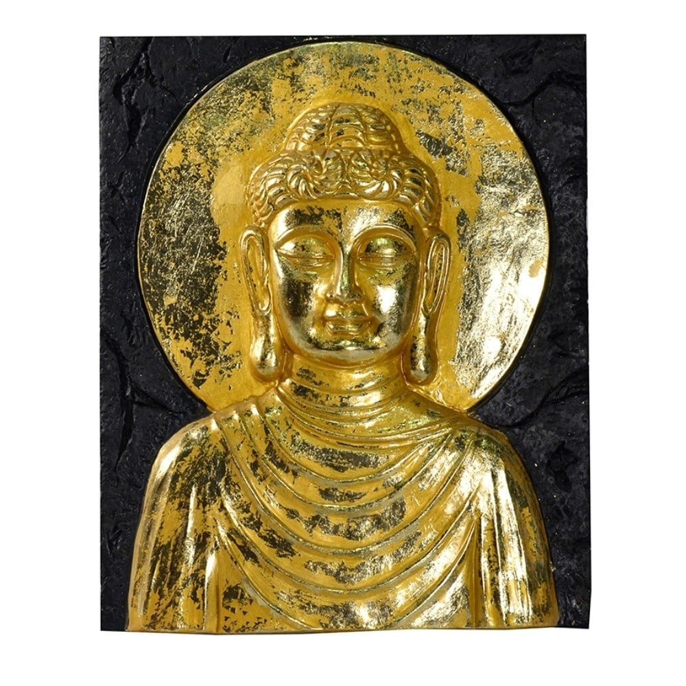 Beautiful Resin Buddha Wall Decor, Gold - Free Shipping Today ...