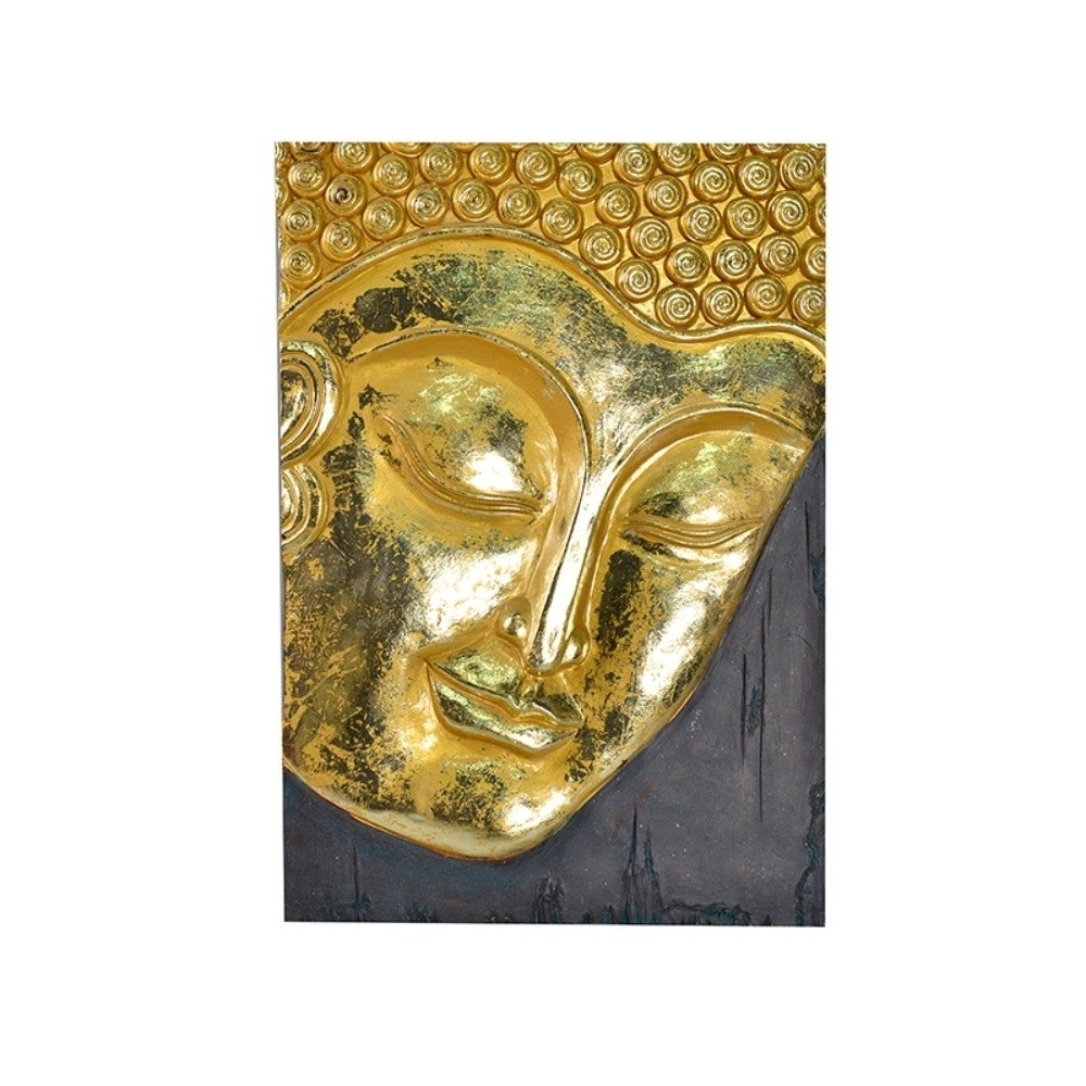 Resin Buddha Wall Decor, Gold - Free Shipping Today - Overstock ...