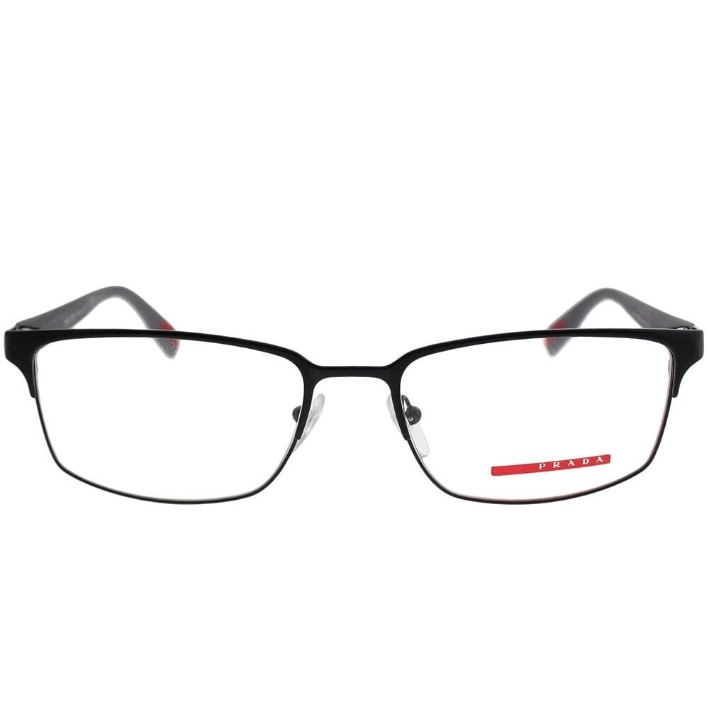 786074d0527f1 spain prada linea rossa rectangle ps 50fv 7ax1o1 unisex black frame eyeglasses  free shipping today overstock