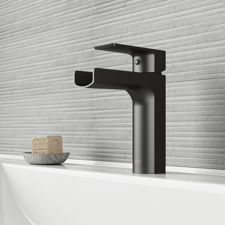 Shop vigo ileana matte black single hole bathroom faucet on sale free shipping today overstock com 21445127