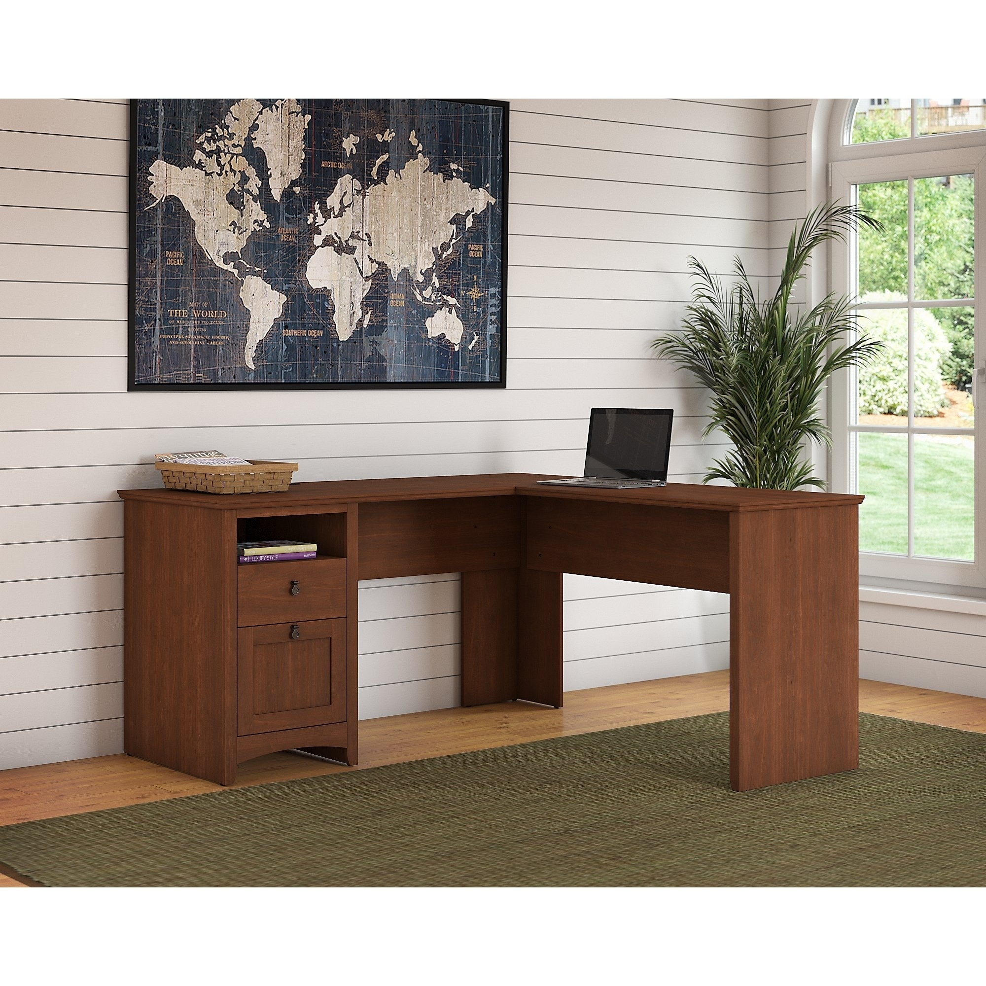 Merveilleux Copper Grove Plovdiv 60 Inch L Shaped Desk With Drawers In Cherry